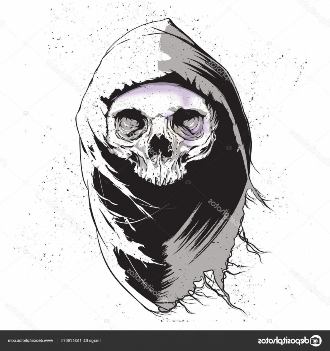 Cool Skull Vector: Stock Illustration Grim Reaper Human Skull Vector