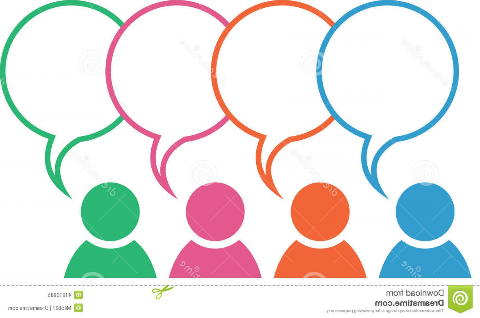 Vector Group Of Hands Overlapped: Stock Illustration Group Icon Speech Bubble Colors Overlapping Different Blank Bubbles Image