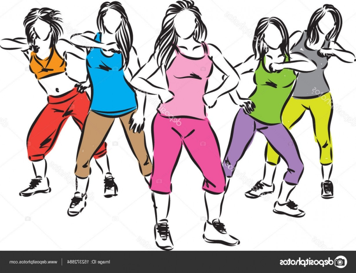Zumba Vector Illustration: Stock Illustration Group Of Dancers Vector Illustration