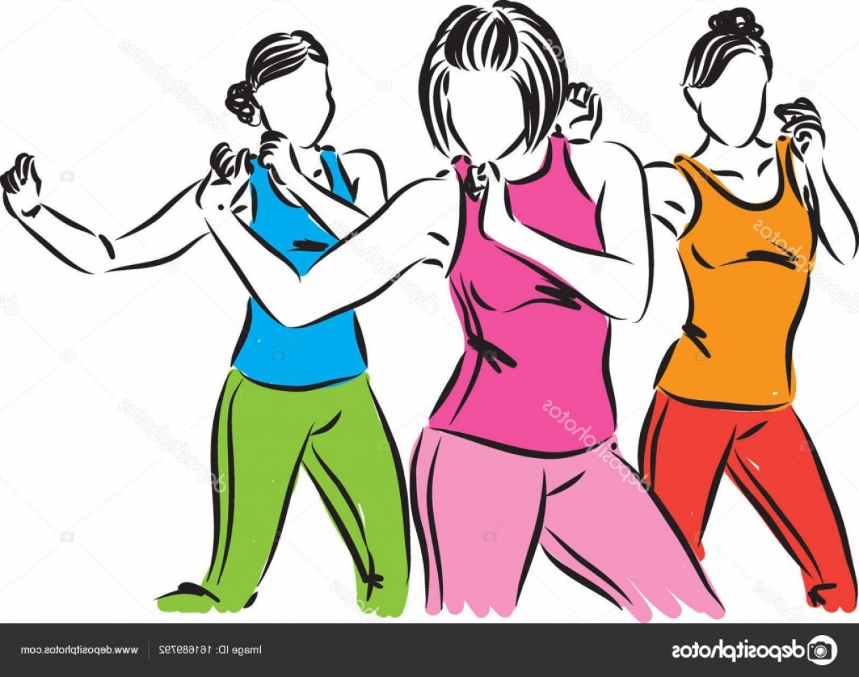 Zumba Vector Illustration: Stock Illustration Group Of Dancers Women Vector