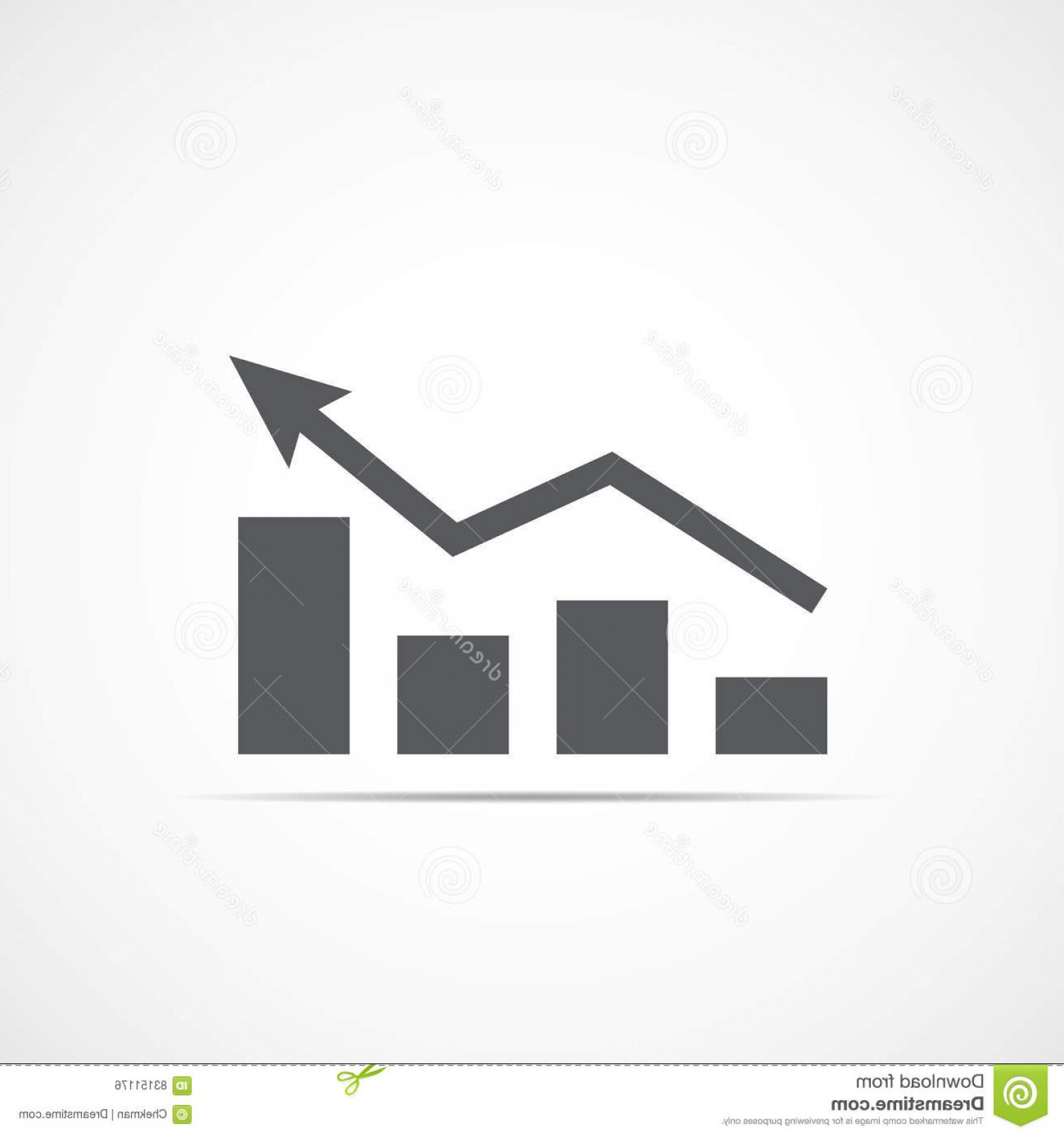 Bar Graph Icon Vector: Stock Illustration Growing Bar Graph Icon Vector Illustration Rising Arrow Financial Forecast Gray Graphic Image