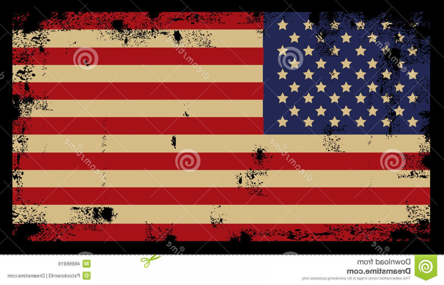 Rustic American Flag Vector: Stock Illustration Grunge American Background Flag Vector Image