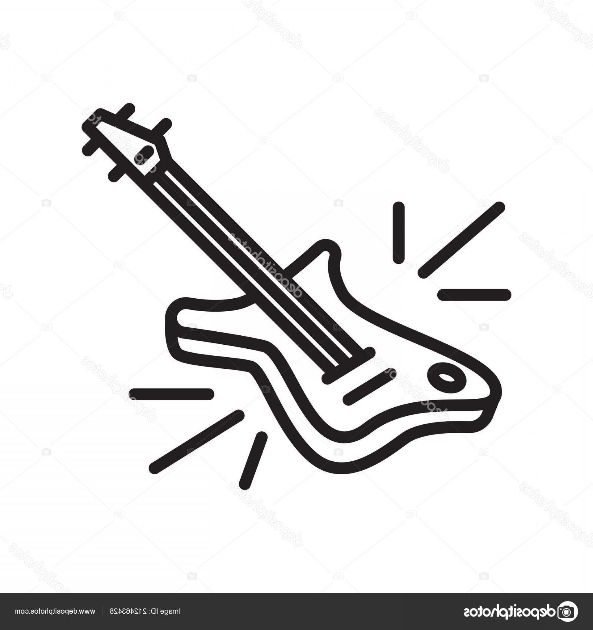 Vector Guitar Clip Art Black And White: Stock Illustration Guitar Icon Vector Isolated On