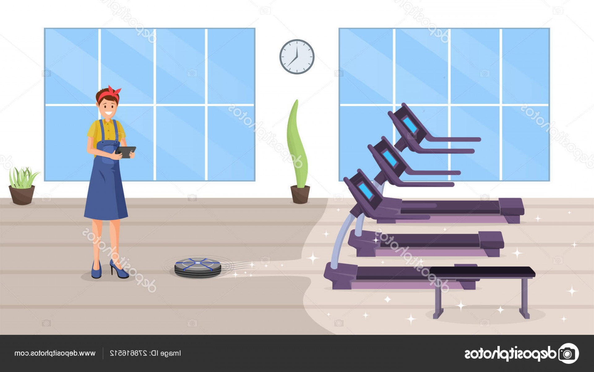 Vector Vacuum Technologies: Stock Illustration Gym Smart Cleaning Flat Vector