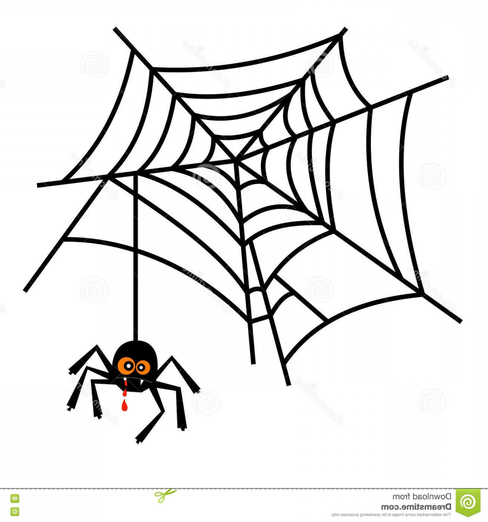 Cute But Deadly Vector: Stock Illustration Halloween Cute Spider Web Vector Isolated White Background Image