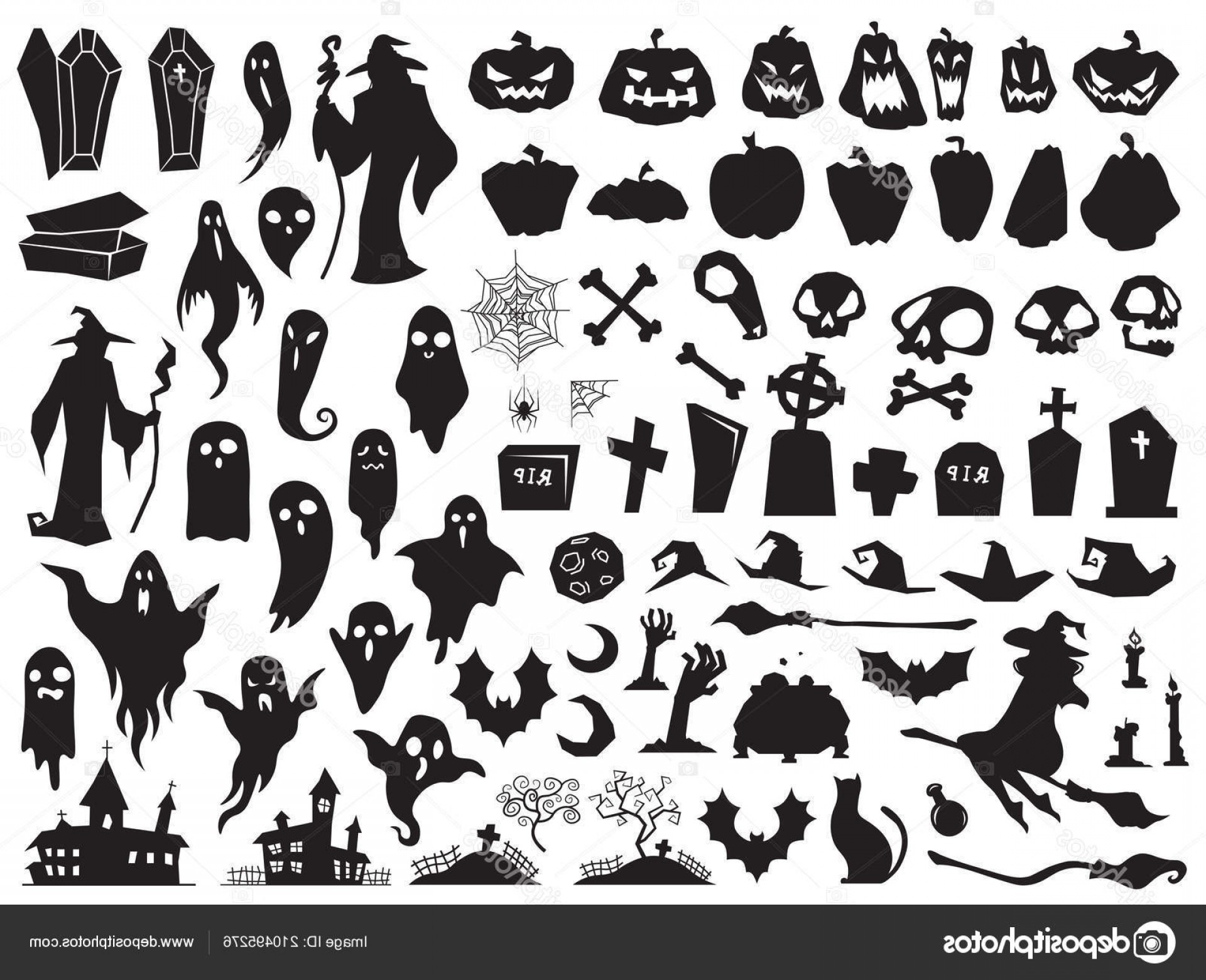Wizard Silhouette Vector: Stock Illustration Halloween Silhouettes Spooky Evil Witch