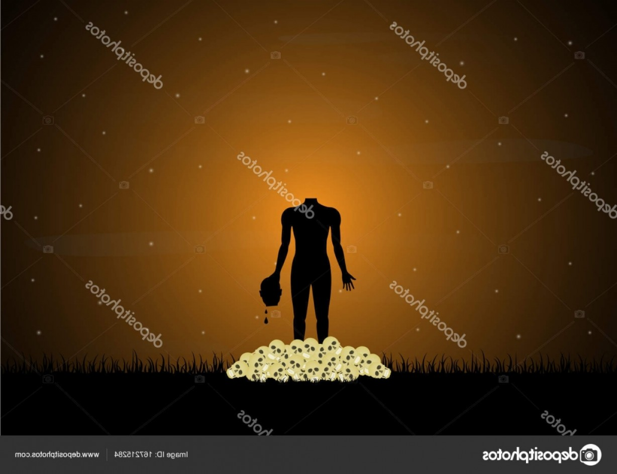 Headless Scary Halloween Skeletons Vectors: Stock Illustration Halloween Skull Graveyard Headless Zombie