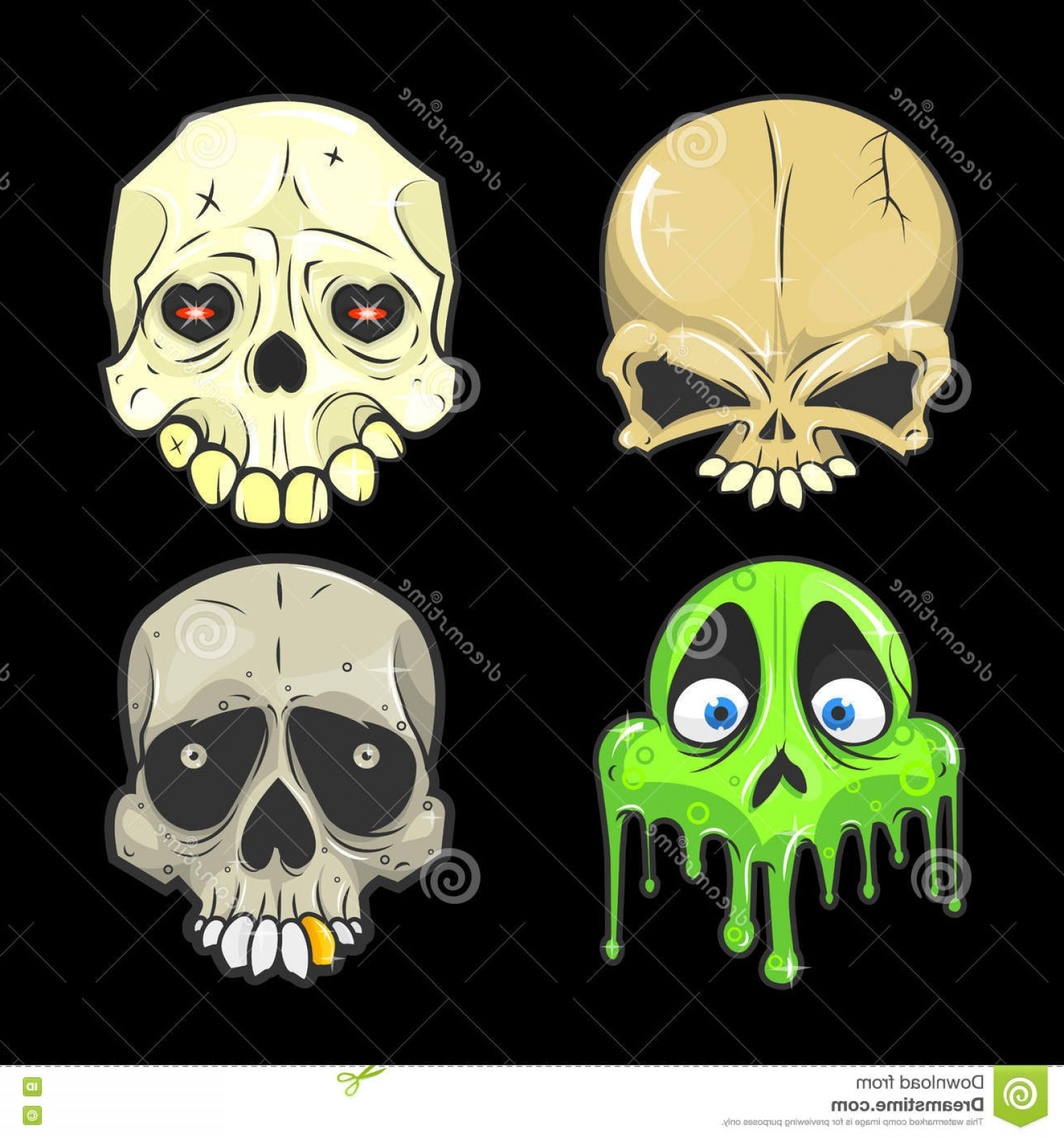His And Hers Skulls Vector: Stock Illustration Halloween Skull Vector Illustrations Set Skulls Symbol Day Dead Spooky Skeleton Head Flat Design Image