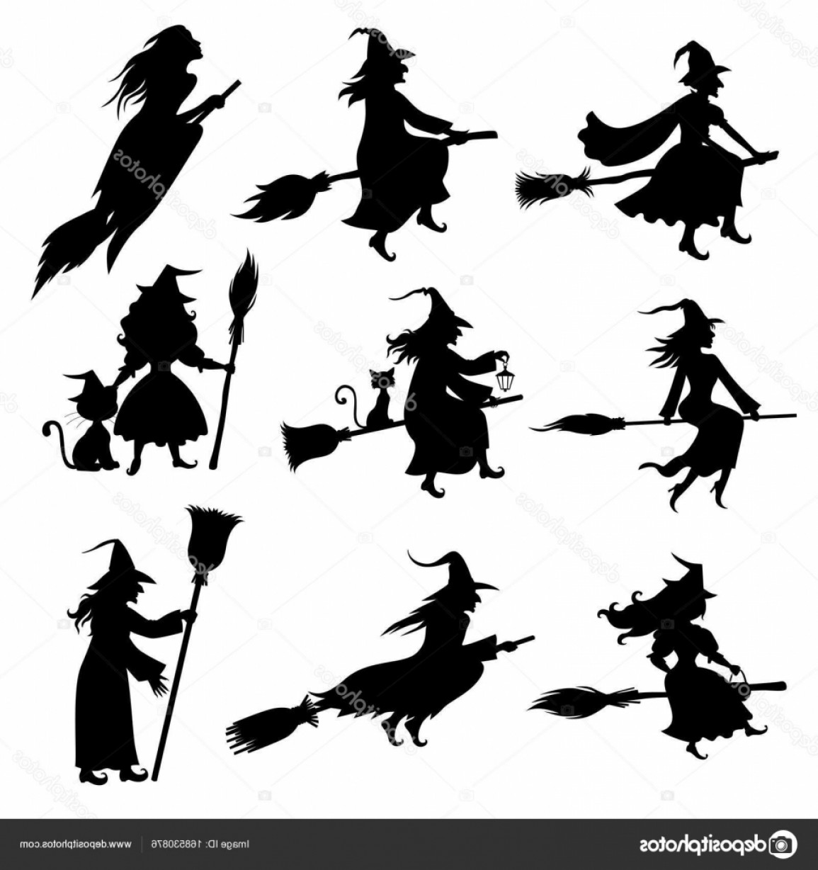 Witch Silhouette Vector: Stock Illustration Halloween Witch Silhouette Set