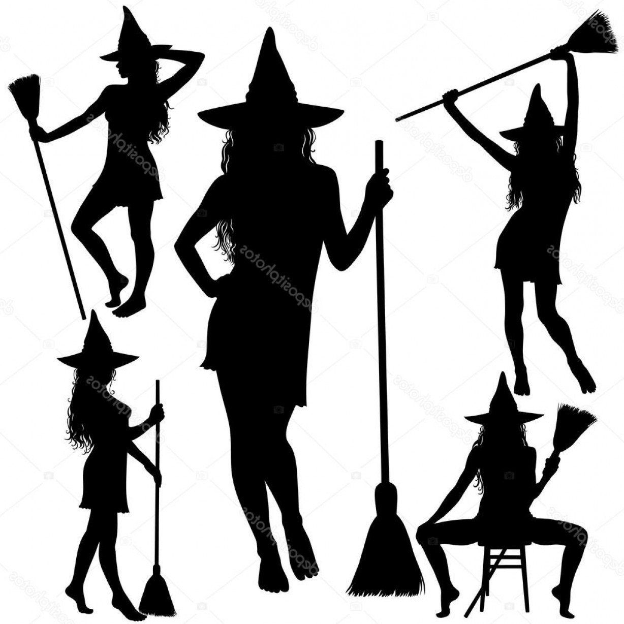 Color Guard Silhouette Vector: Stock Illustration Halloween Witch With Broomstick Silhouettes