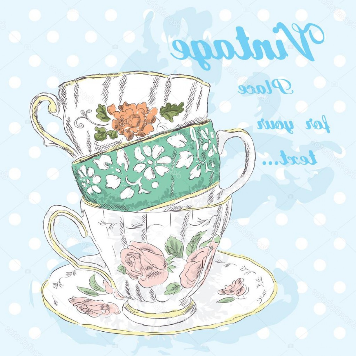 Vintage Tea Cup Vector: Stock Illustration Hand Drawing Vintage Cups Vintage