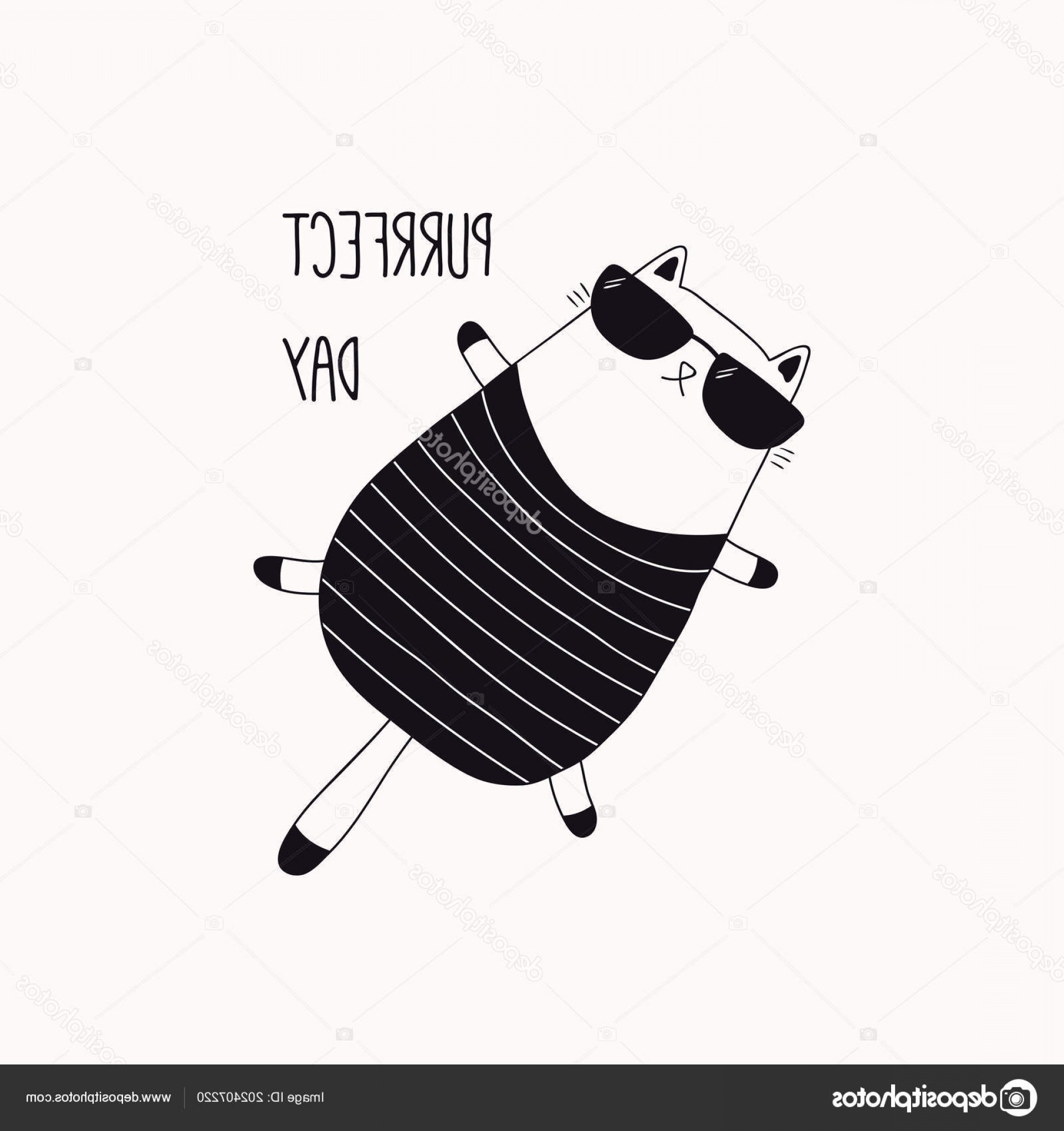 Funny Black And White Vector: Stock Illustration Hand Drawn Black White Vector