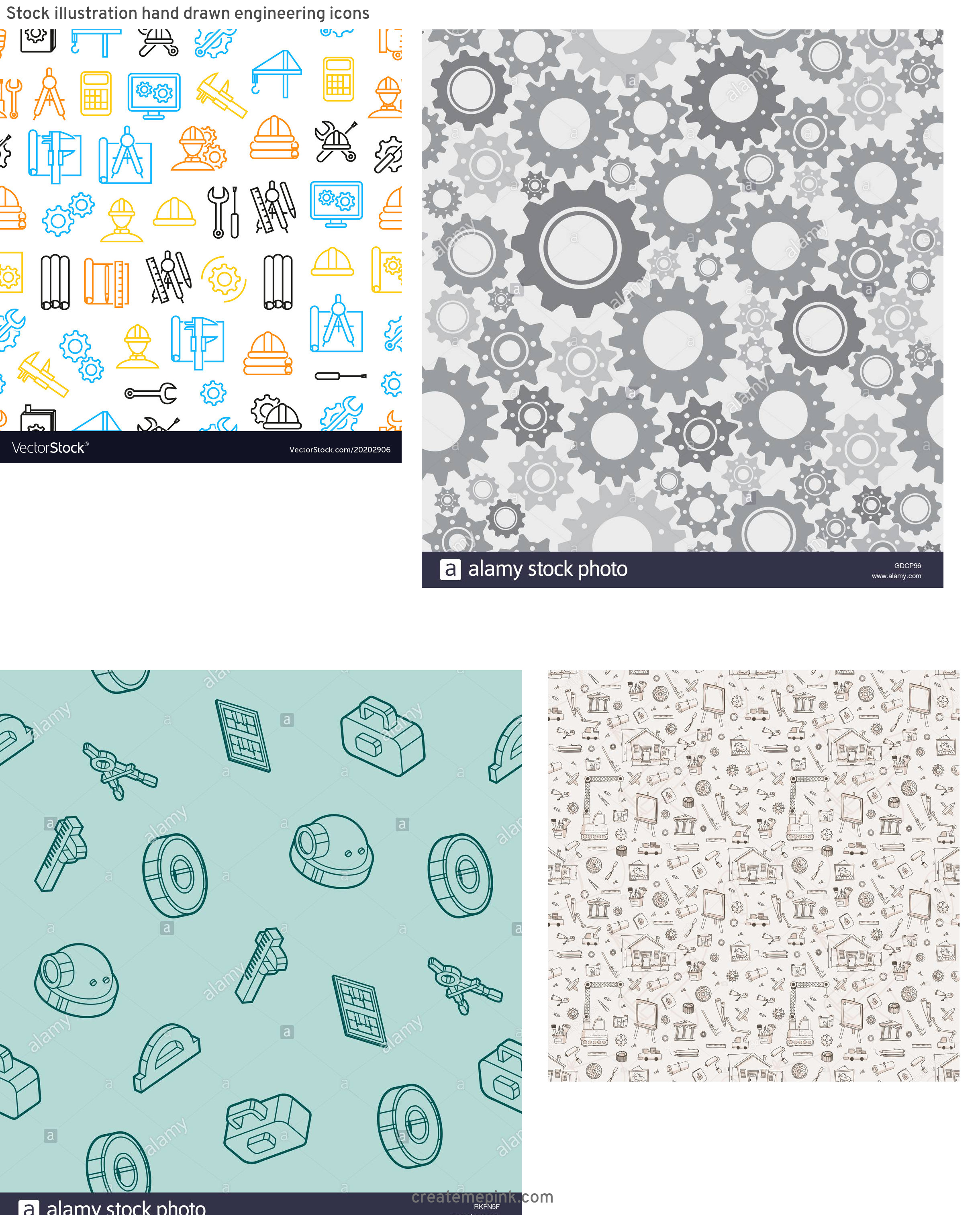 Engineering Vector Pattern: Stock Illustration Hand Drawn Engineering Icons
