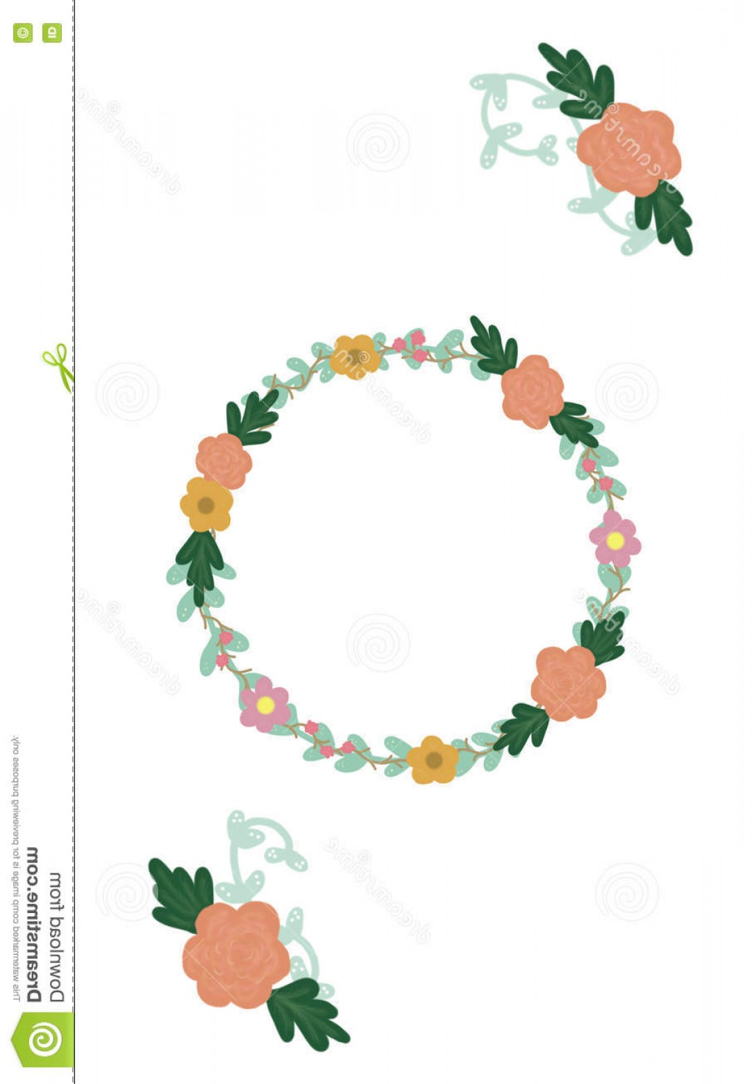 Vine Vector Graphics: Stock Illustration Hand Drawn Floral Wreath Vector Flower Vine Designs Rustic Style Graphics Image