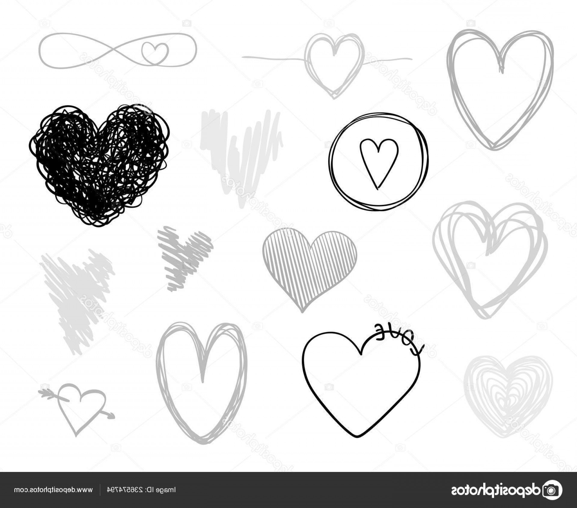 Infinity Grunge Heart Vector: Stock Illustration Hand Drawn Grunge Hearts Isolated