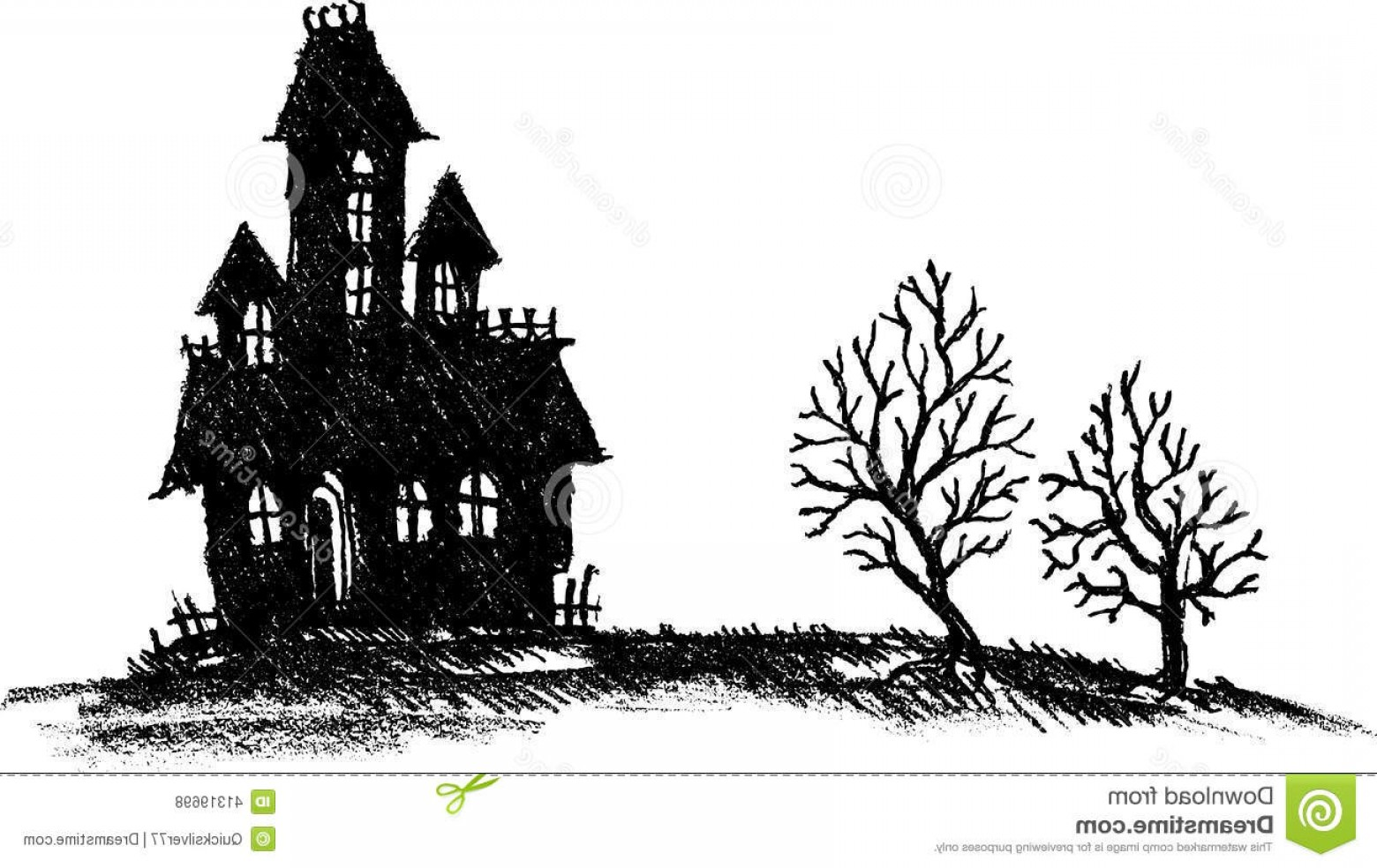 Stock Illustration Hand Drawn Haunted House Halloween ...