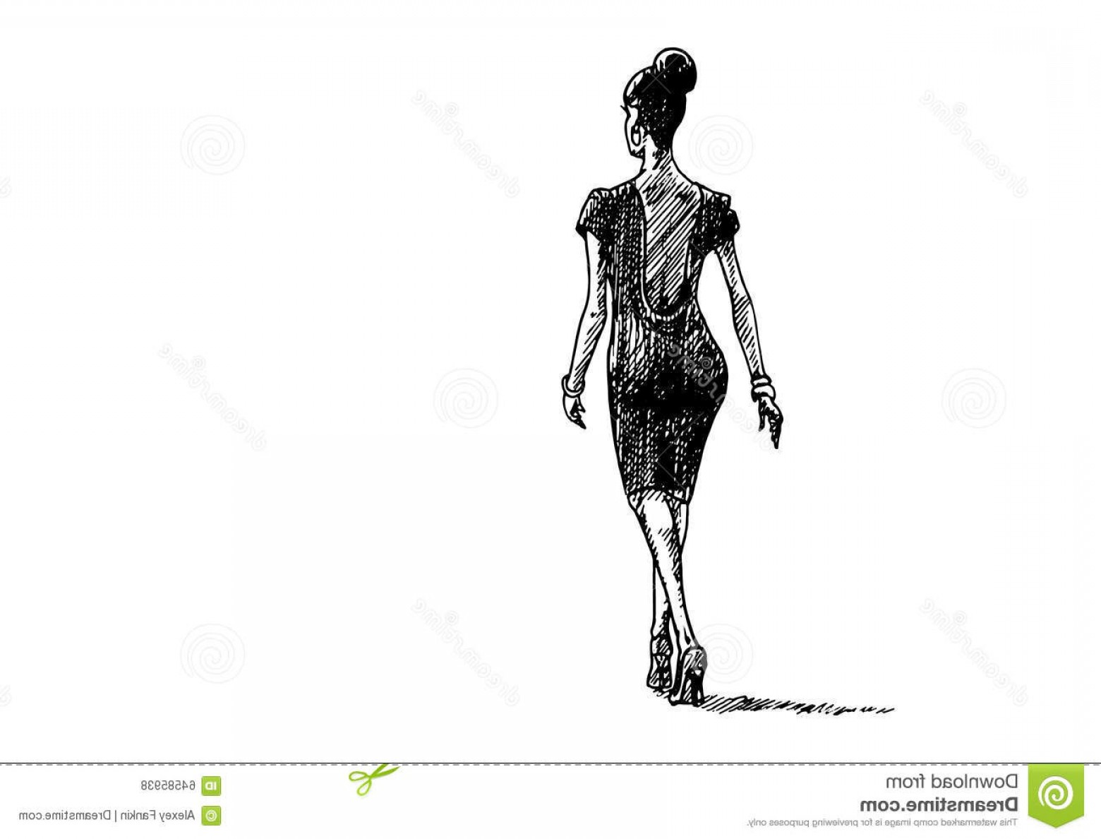 Walking Away Vector: Stock Illustration Hand Drawn Lady White Background Vector Illustration Business Walks Away View Back Image