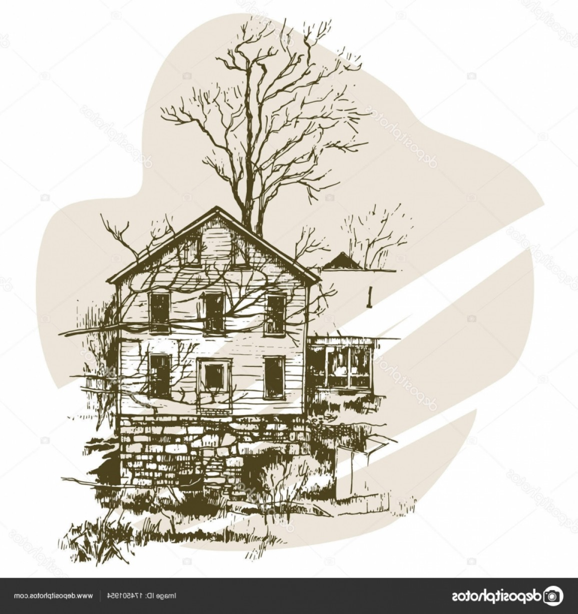 Vector Modern Tree House: Stock Illustration Hand Drawn Sketch Modern House