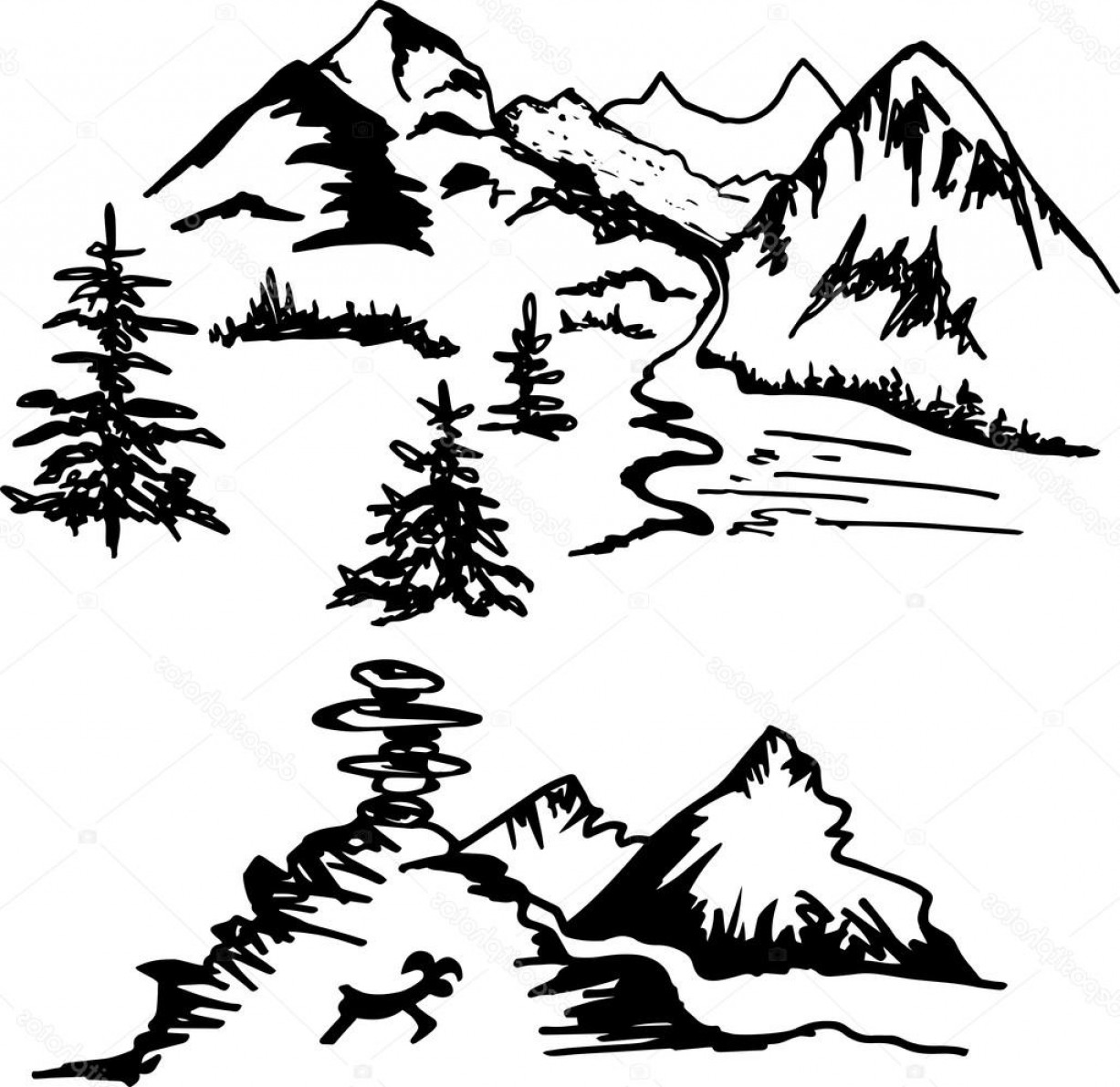 Vector Art Mountains Trees Colorado: Stock Illustration Hand Drawn Two Landscape With