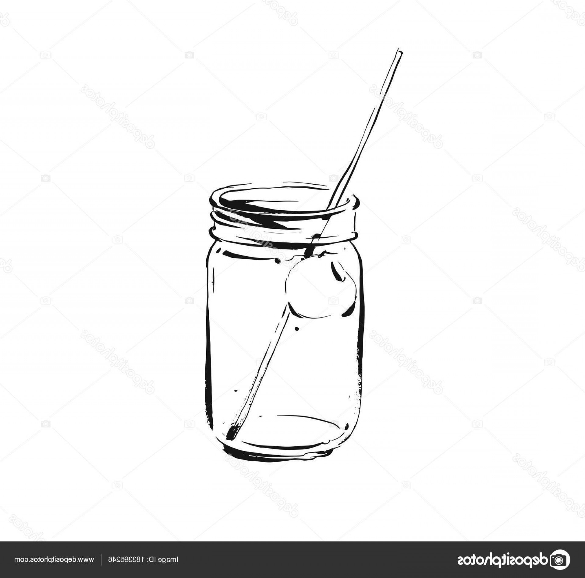 Mason Jar Outline Vector: Stock Illustration Hand Drawn Vector Abstract Artistic
