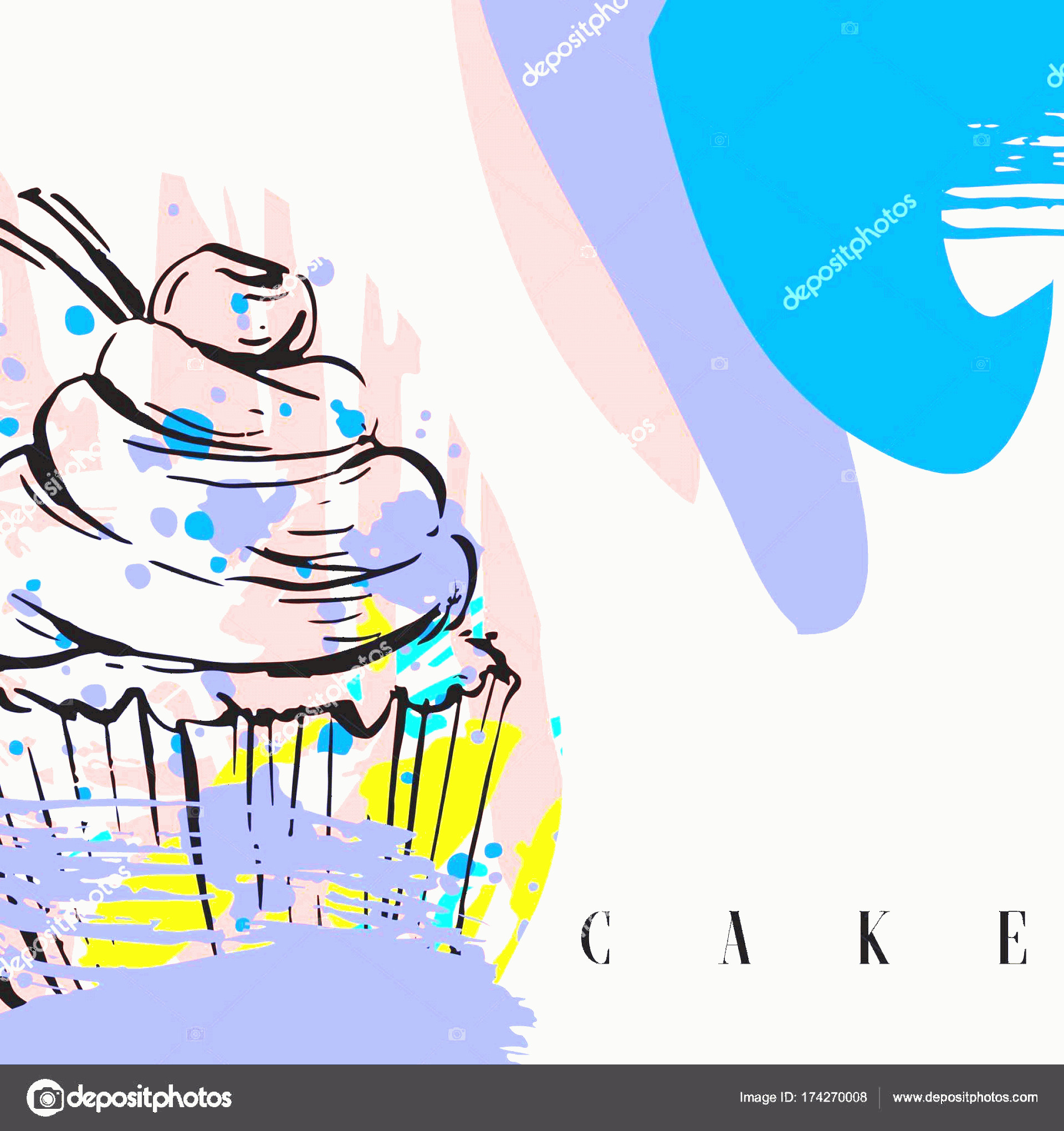 Vector Abstract Art Cake: Stock Illustration Hand Drawn Vector Abstract Graphic