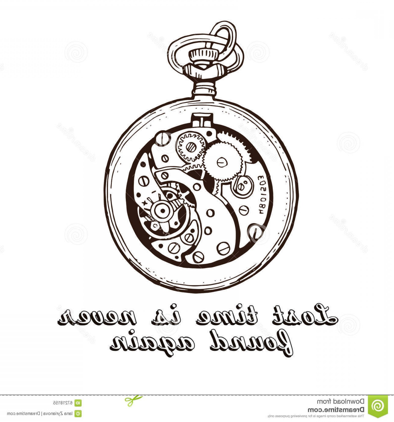 Watch Face Vector: Stock Illustration Hand Drawn Vintage Watch Clock Sketch Vector Illustration Quote Time Image