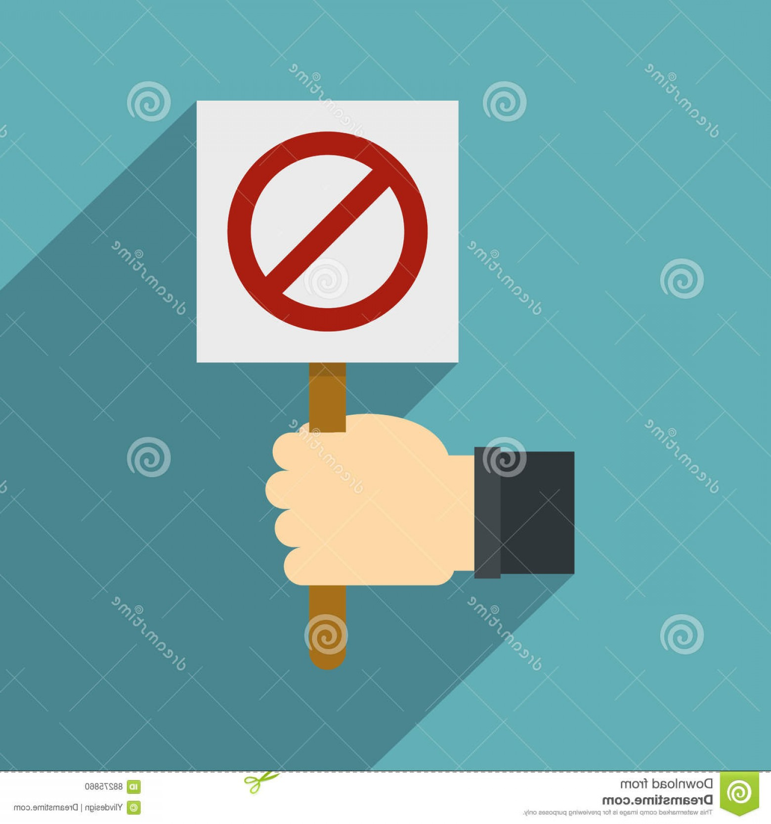 Hand Stop Vector Teal: Stock Illustration Hand Holding Stop Sign Icon Flat Style Illustration Vector Web Isolated Baby Blue Background Image