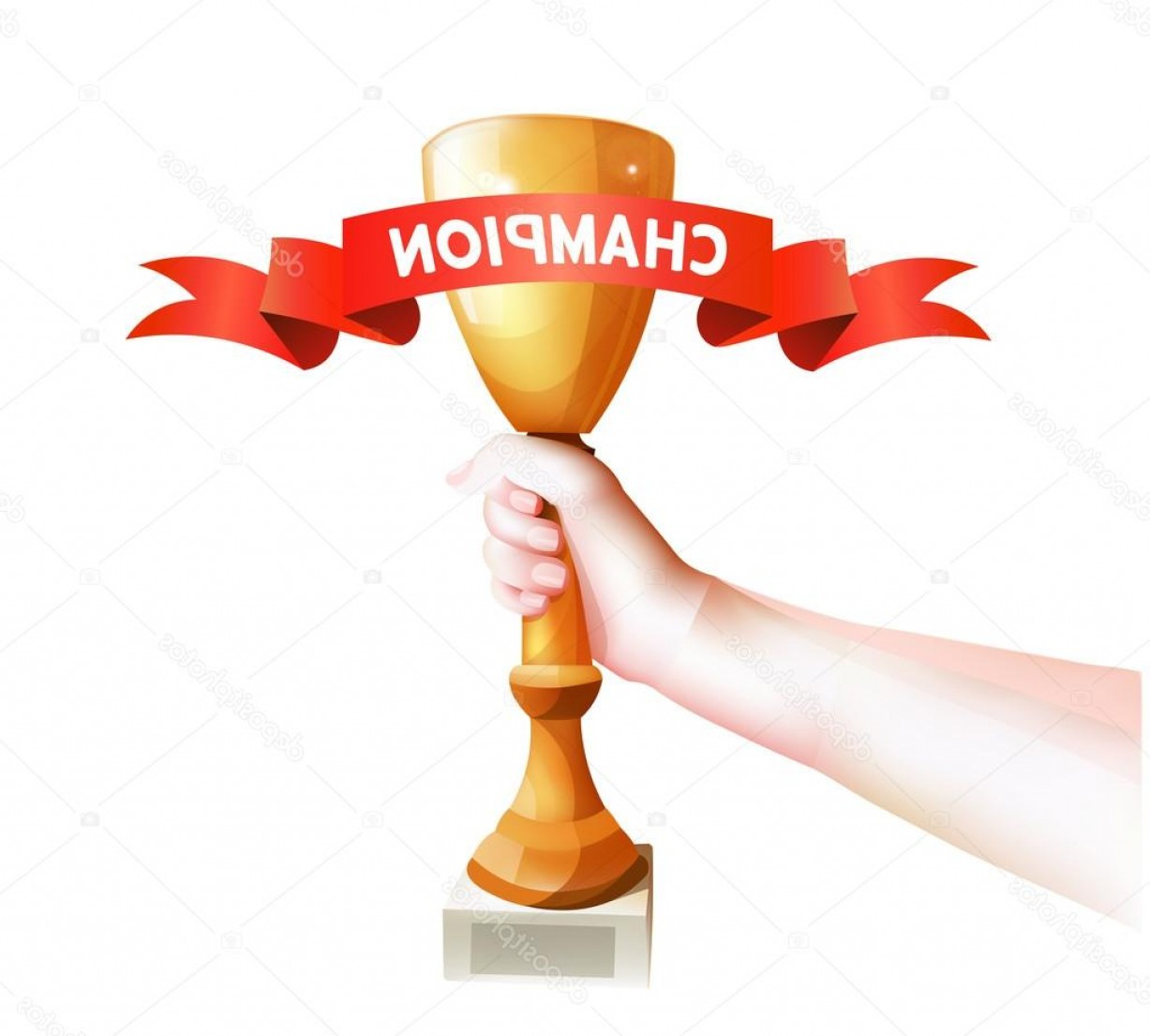 Champion Vector Art: Stock Illustration Hand Holding Up Trophy Vector