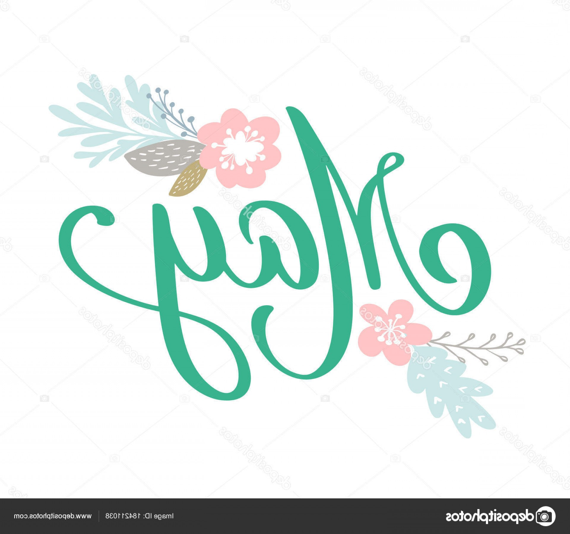 Season S Greetings Vector Free: Stock Illustration Hand Sketched Hello May Text