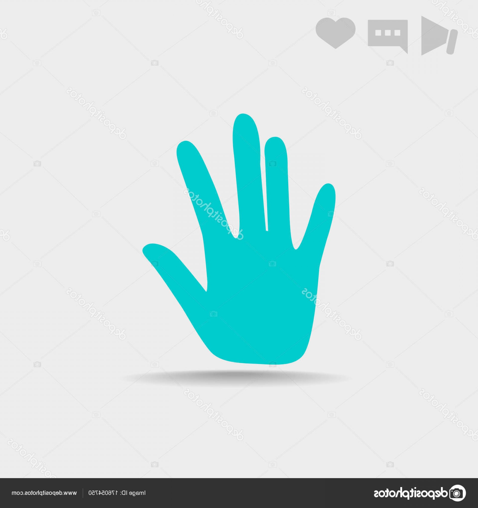 Hand Stop Vector Teal: Stock Illustration Hand Stop Web Icon