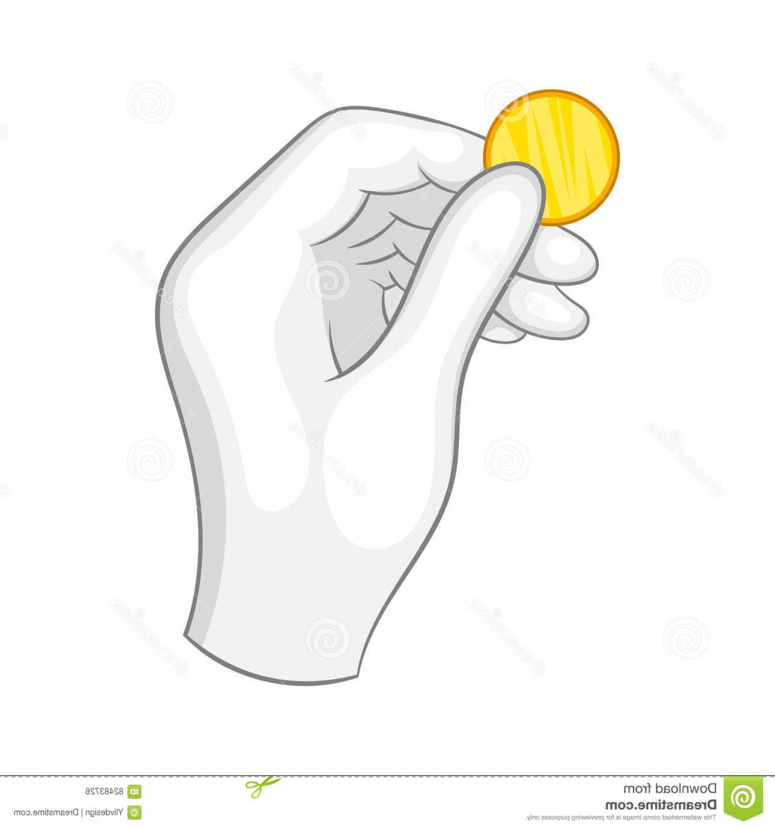 White Glove Service Vector: Stock Illustration Hand White Glove Holding Gold Coin Icon Cartoon Style Background Image