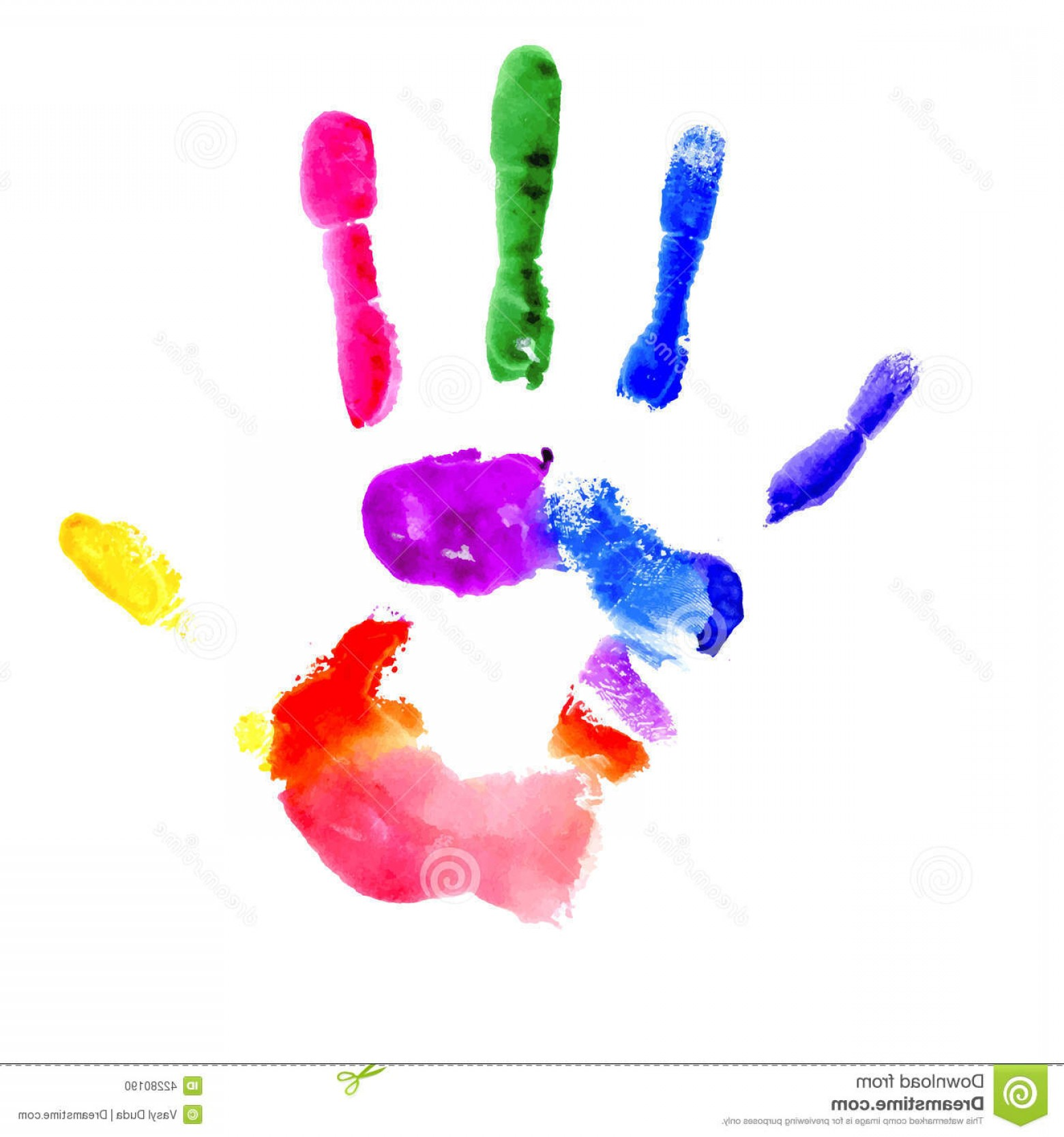 Hand Prints Vector Transparent Background: Stock Illustration Handprint Vibrant Colors Rainbow Painted Several White Background Image