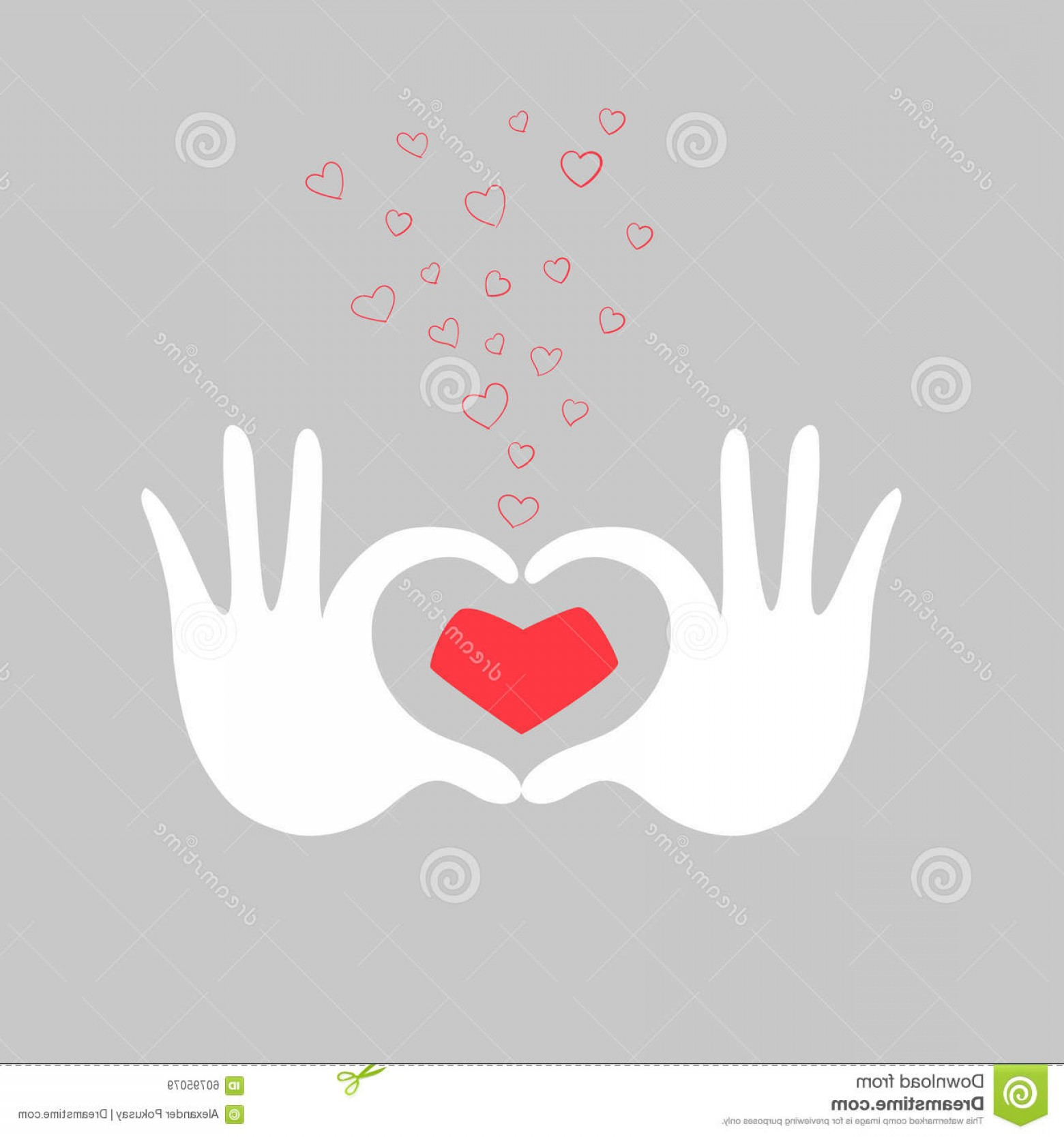 Heart Card Vector: Stock Illustration Hands Heart Love Greeting Card Vector Illustration Doodle Hand Drawn Image