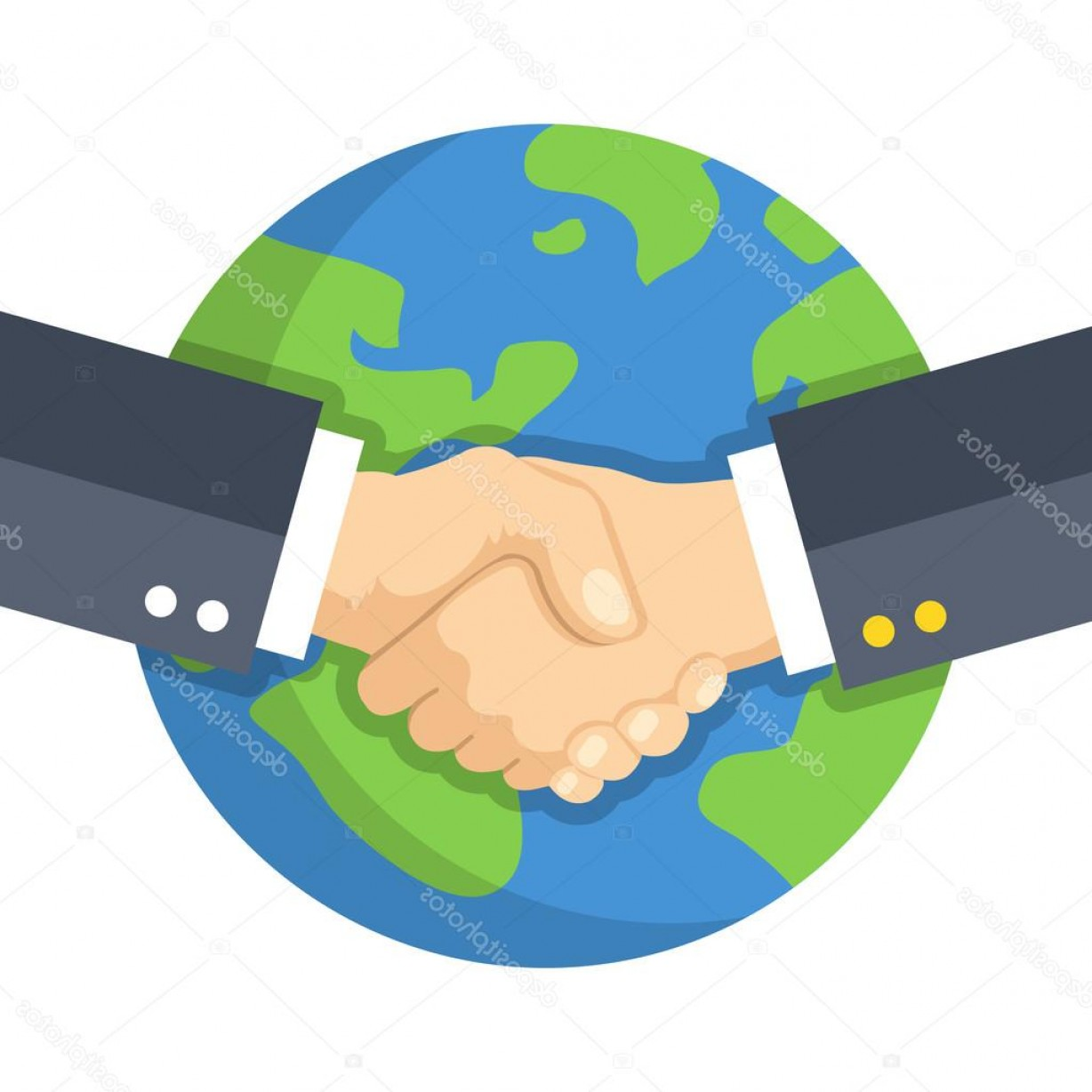 Handshake Clip Art Vector: Stock Illustration Handshake And Planet Earth World
