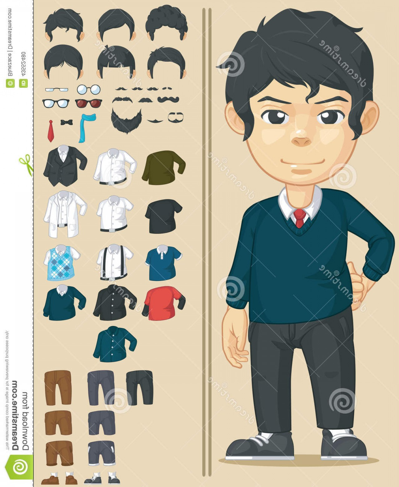 Handsome Man Vector Outline: Stock Illustration Handsome Man Customizable Character Vector Set Many Clothes Accessories Can Be Customized Drawn Cartoon Image