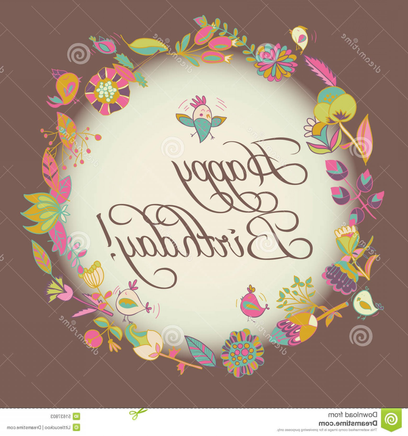 Birthday Card Vector Frame Designs: Stock Illustration Happy Birthday Greeting Card Circle Floral Frame Cute Cartoon Bird Flower Image