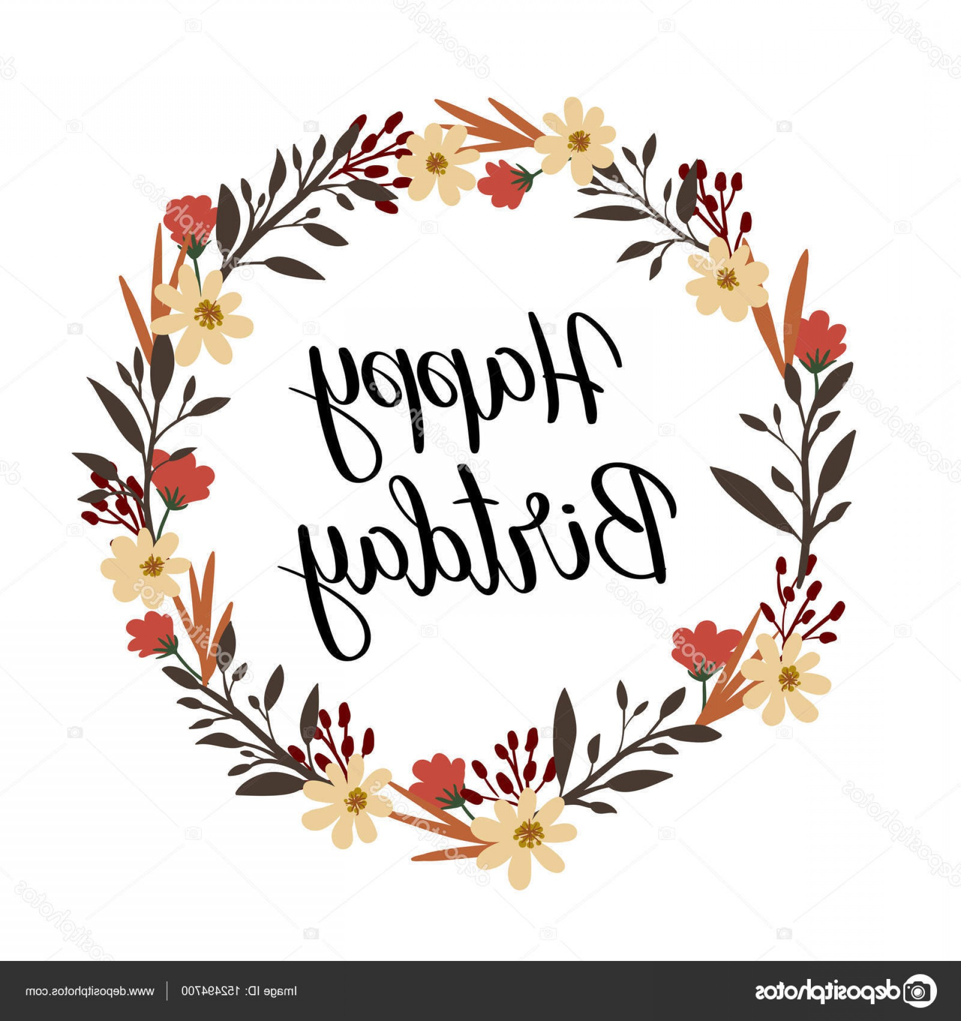 Floral Vector Calligraphy: Stock Illustration Happy Birthday Hand Lettering Greeting