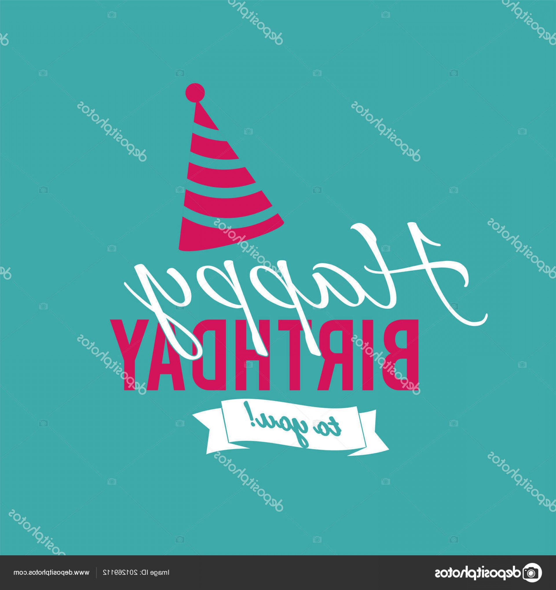 Teal Birthday Hat Vector: Stock Illustration Happy Birthday You Ribbon Party