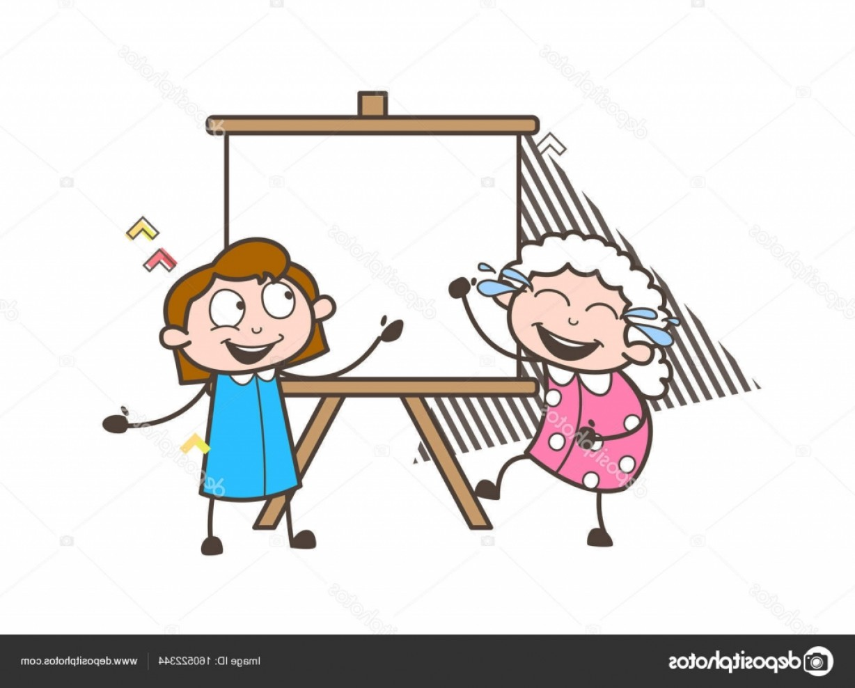 Knee Board Vector: Stock Illustration Happy Cartoon Granny With Kid