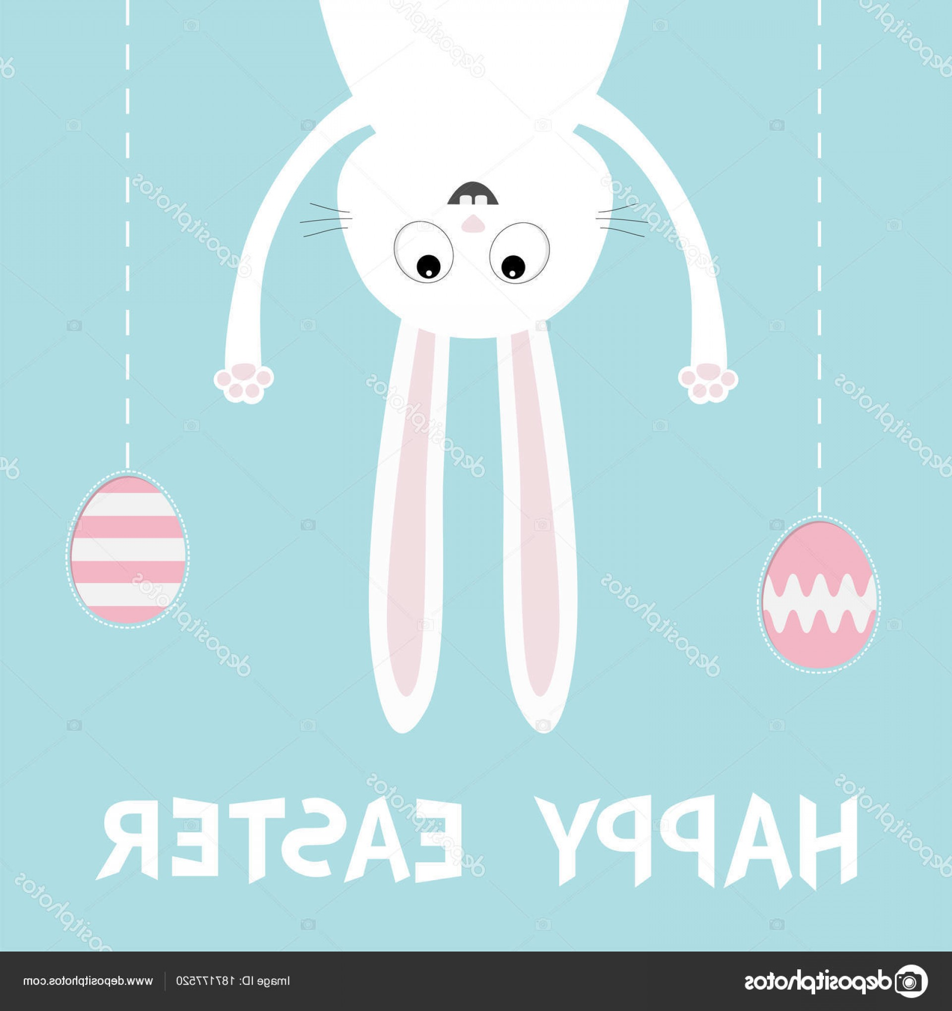 Animated Bunny Face Vector: Stock Illustration Happy Easter Funny Bunny Hanging