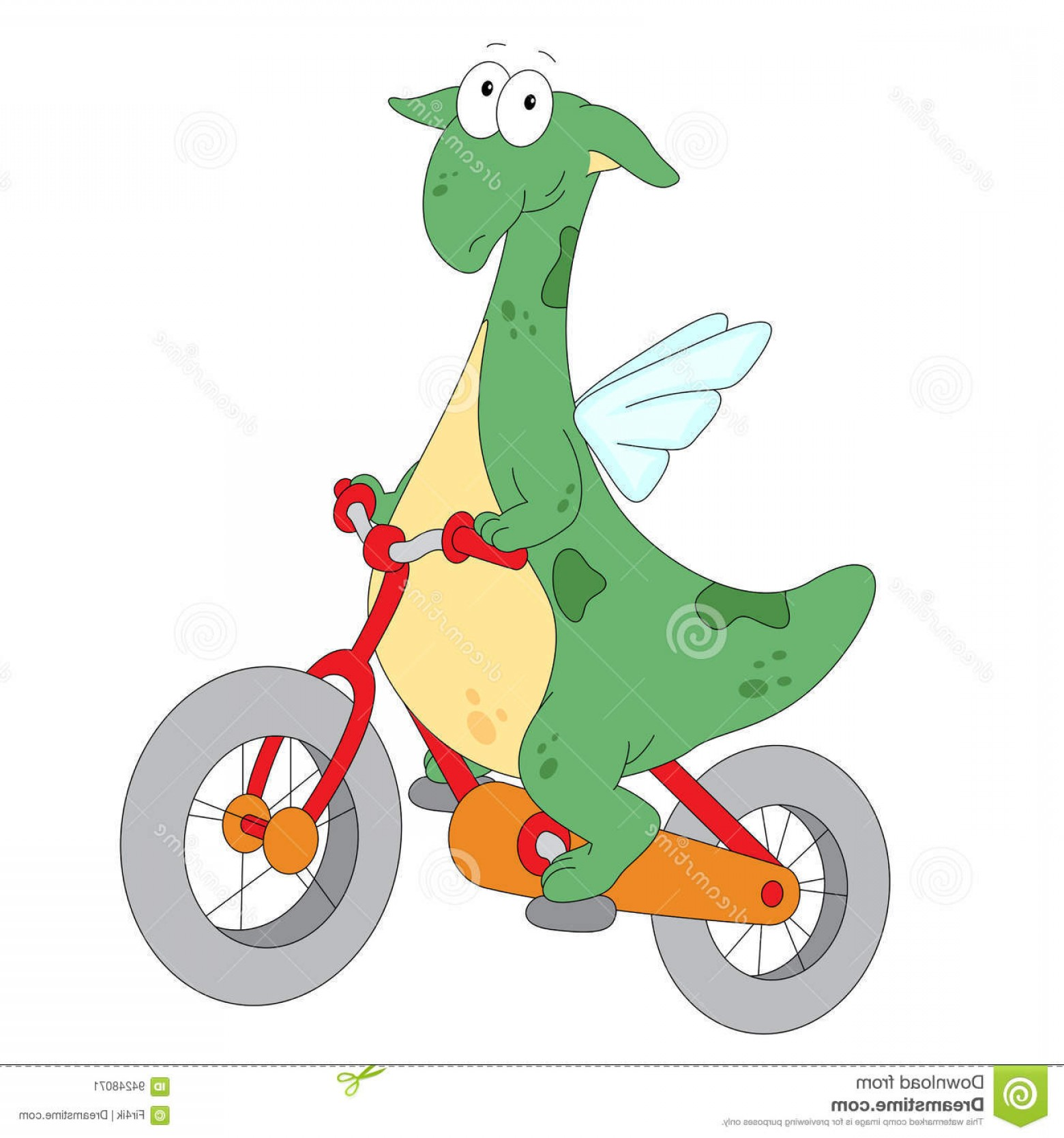 Riding A Dragon Art Vector Clip Art: Stock Illustration Happy Green Dragon Riding Bicycle Vector Flat Design Illustration Image