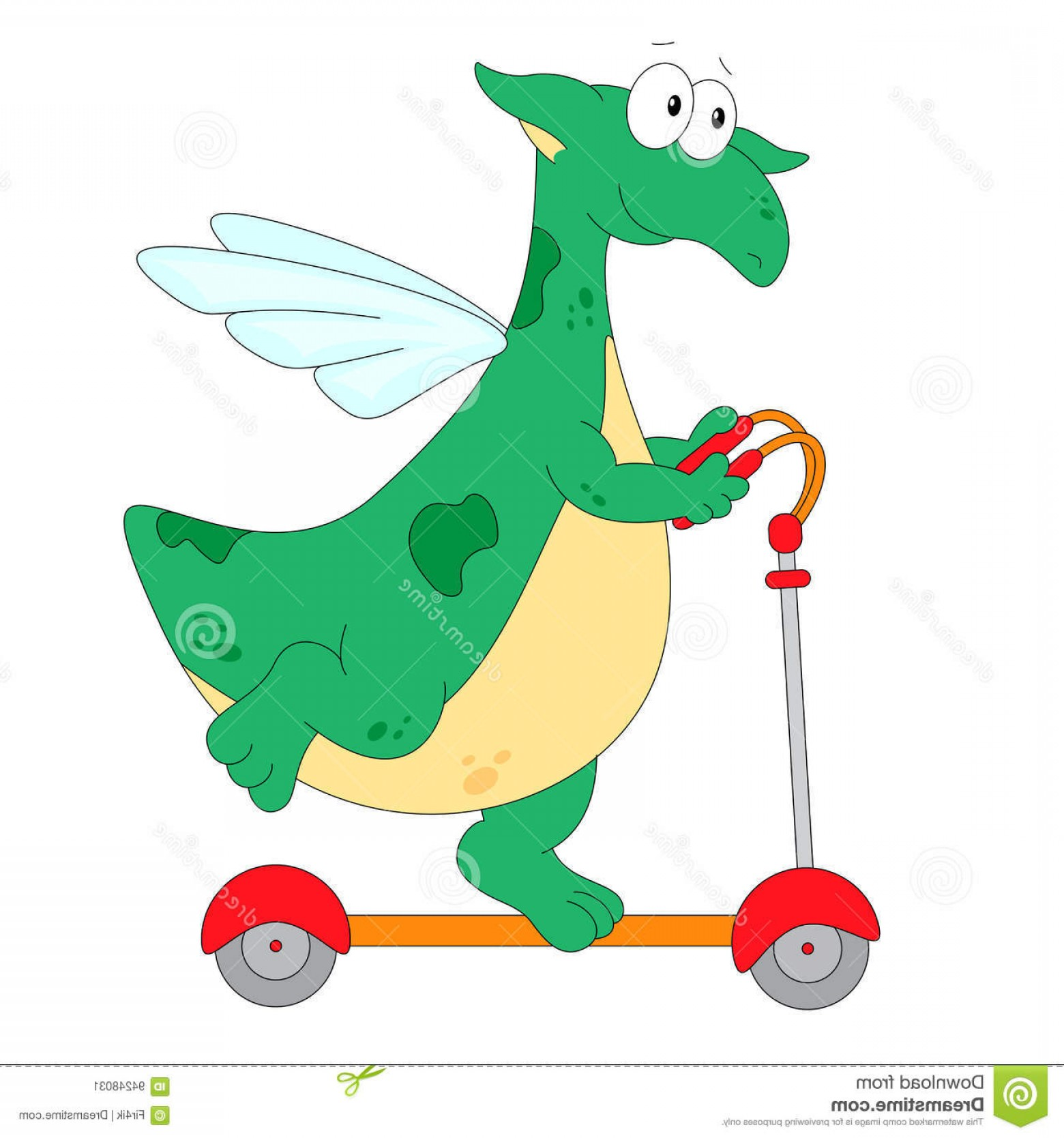 Riding A Dragon Art Vector Clip Art: Stock Illustration Happy Green Dragon Riding Kick Scooter Vector Flat Design Illustration Image
