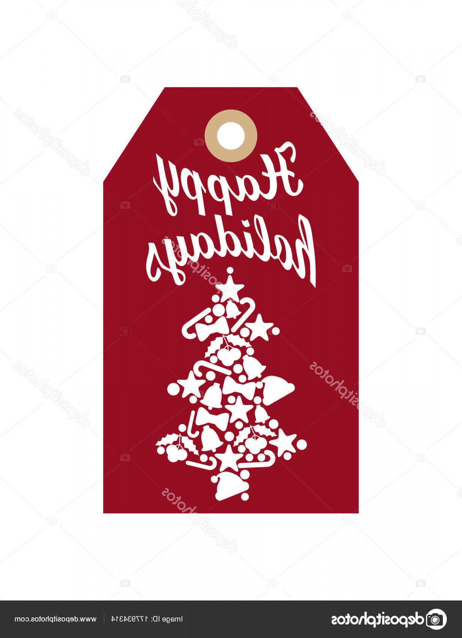 Vector Silhouette Happy Holidays: Stock Illustration Happy Holidays Promo Label With