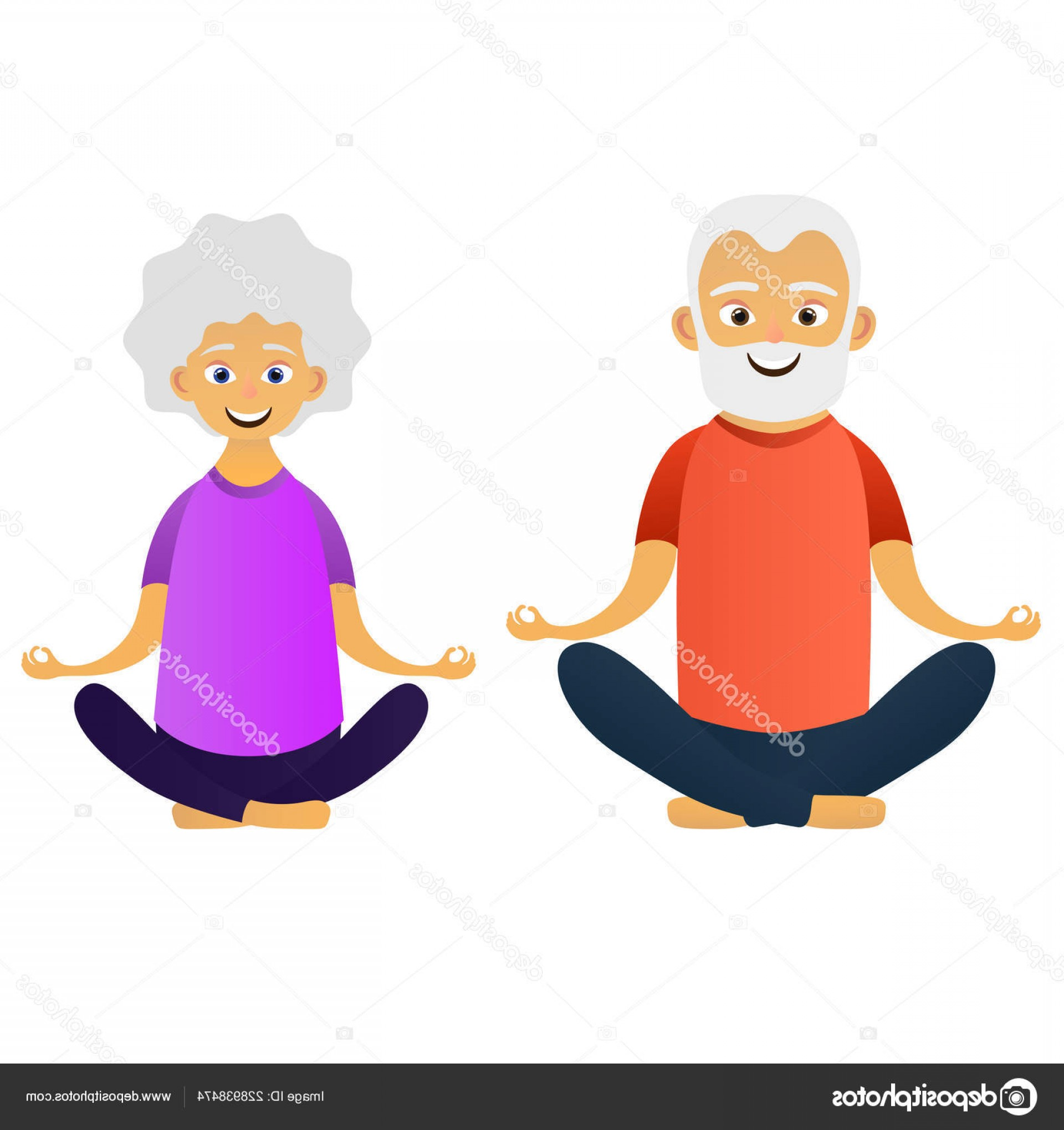 Happy Elderly Vector: Stock Illustration Happy Old Couple Dressed Sports