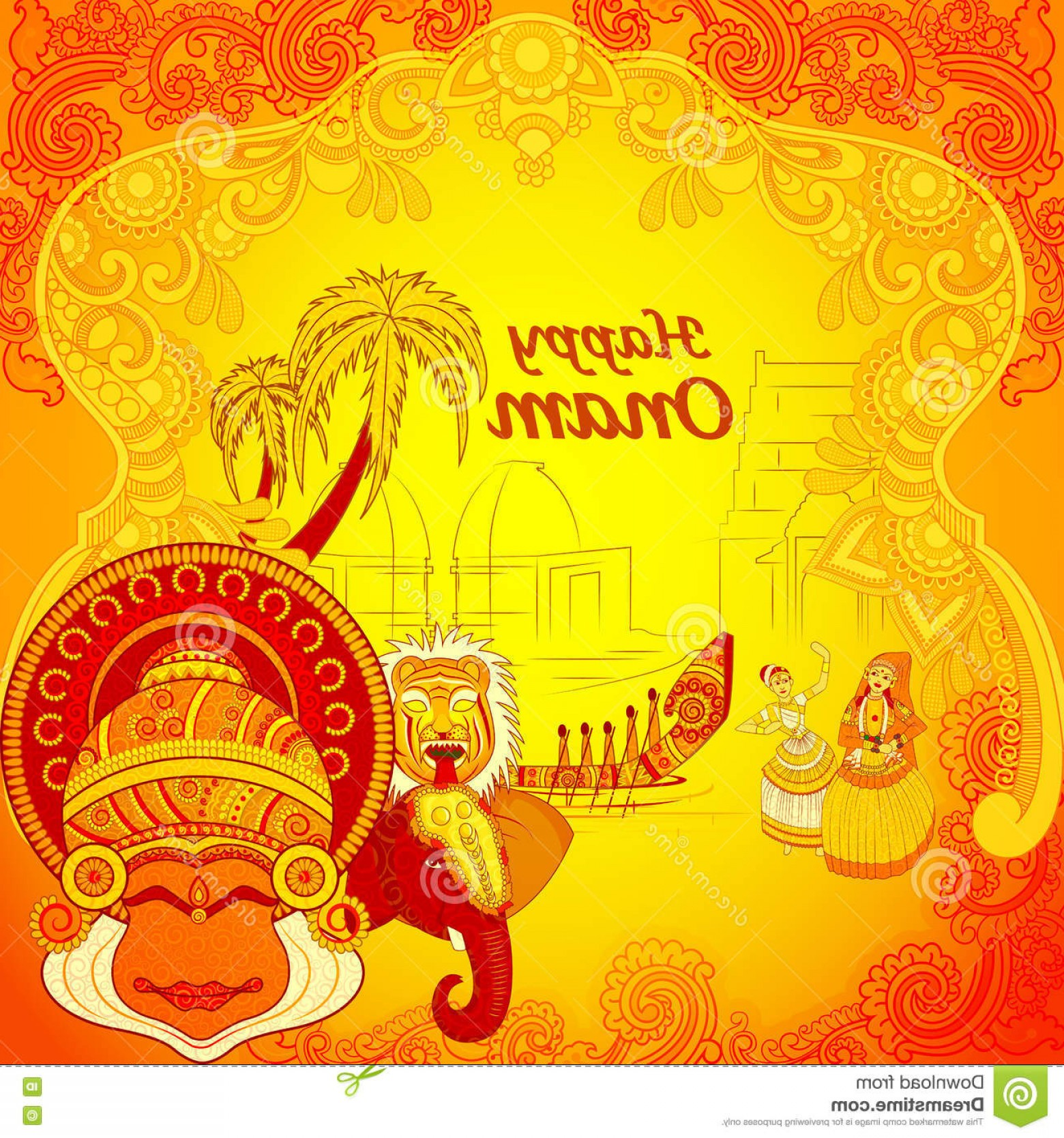 Vector Hindu Art: Stock Illustration Happy Onam Background Indian Art Style Vector Design Image