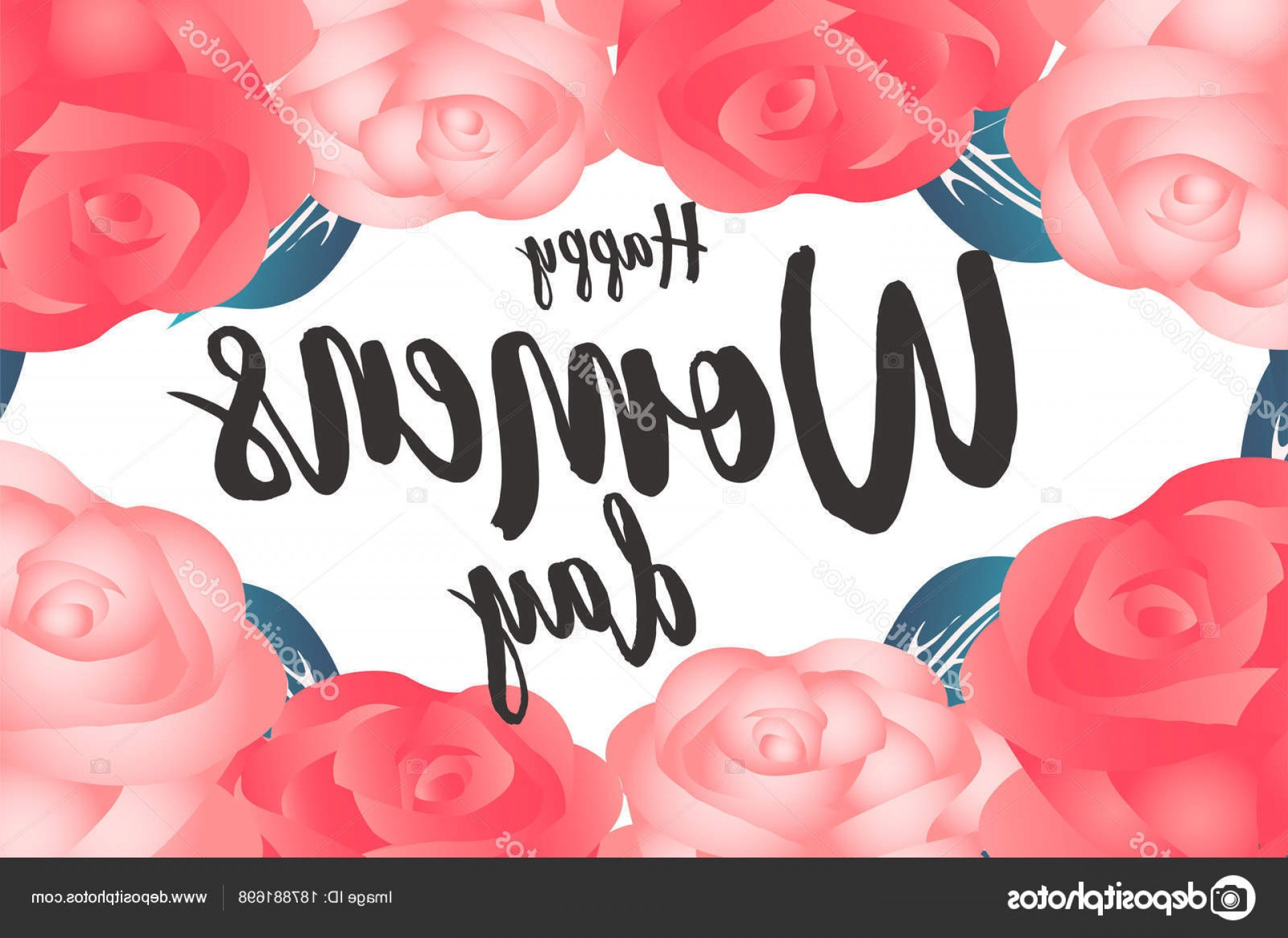 Women With Roses Vector: Stock Illustration Happy Women Day Rose Background