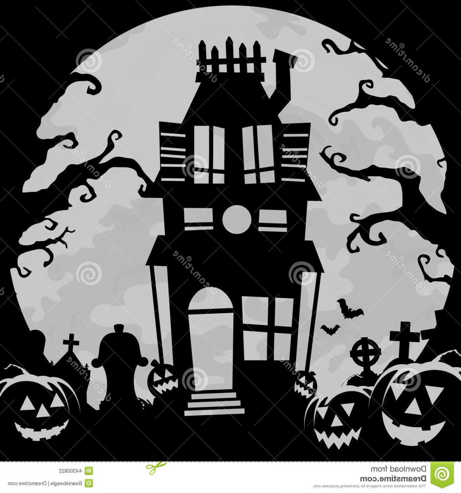 Halloween Haunted House Silhouette Vector: Stock Illustration Haunted House Background Creepy Halloween Image