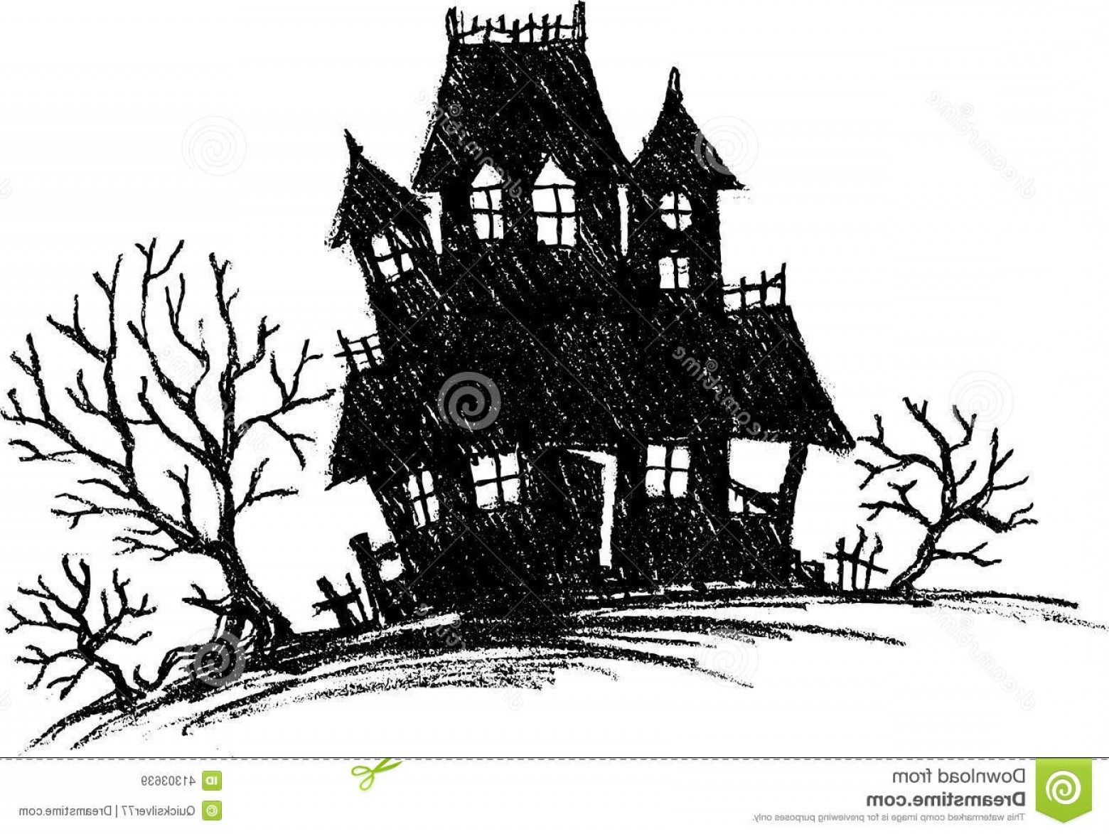 Halloween Haunted House Silhouette Vector: Stock Illustration Haunted House Sketch Hand Drawn Spooky Silhouette Isolated Illustration Image