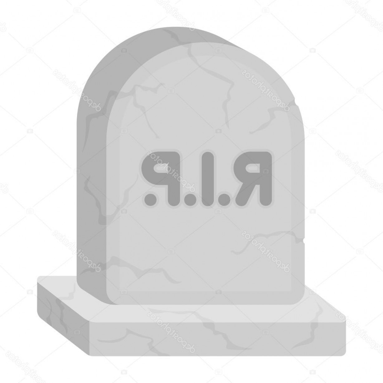 Gravestone Black And Whit Vector JPEG: Stock Illustration Headstone Icon In Cartoon Style