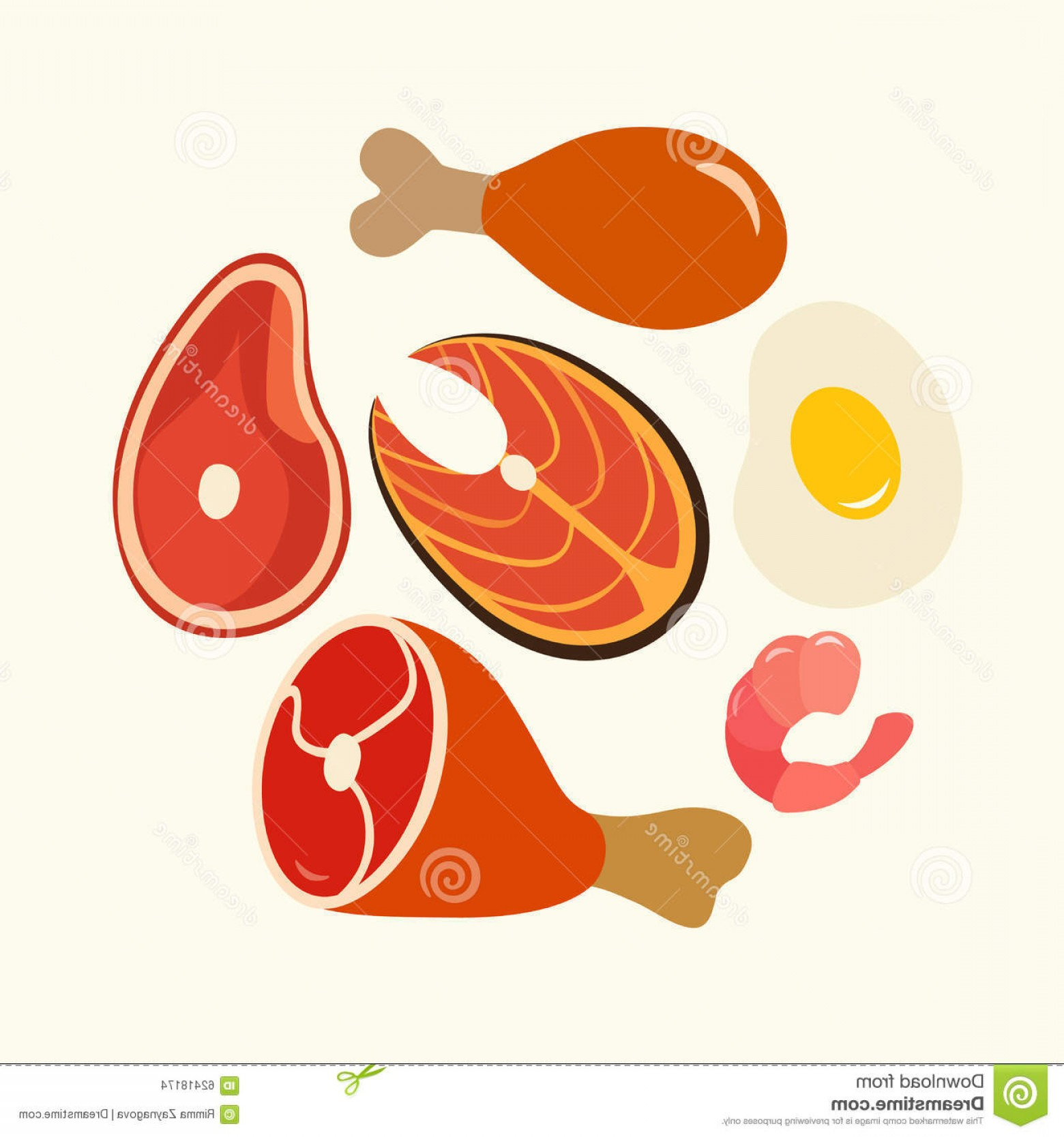 Vector Protein: Stock Illustration Healthy Food Protein Foods Flat Vector Set Illustration Image